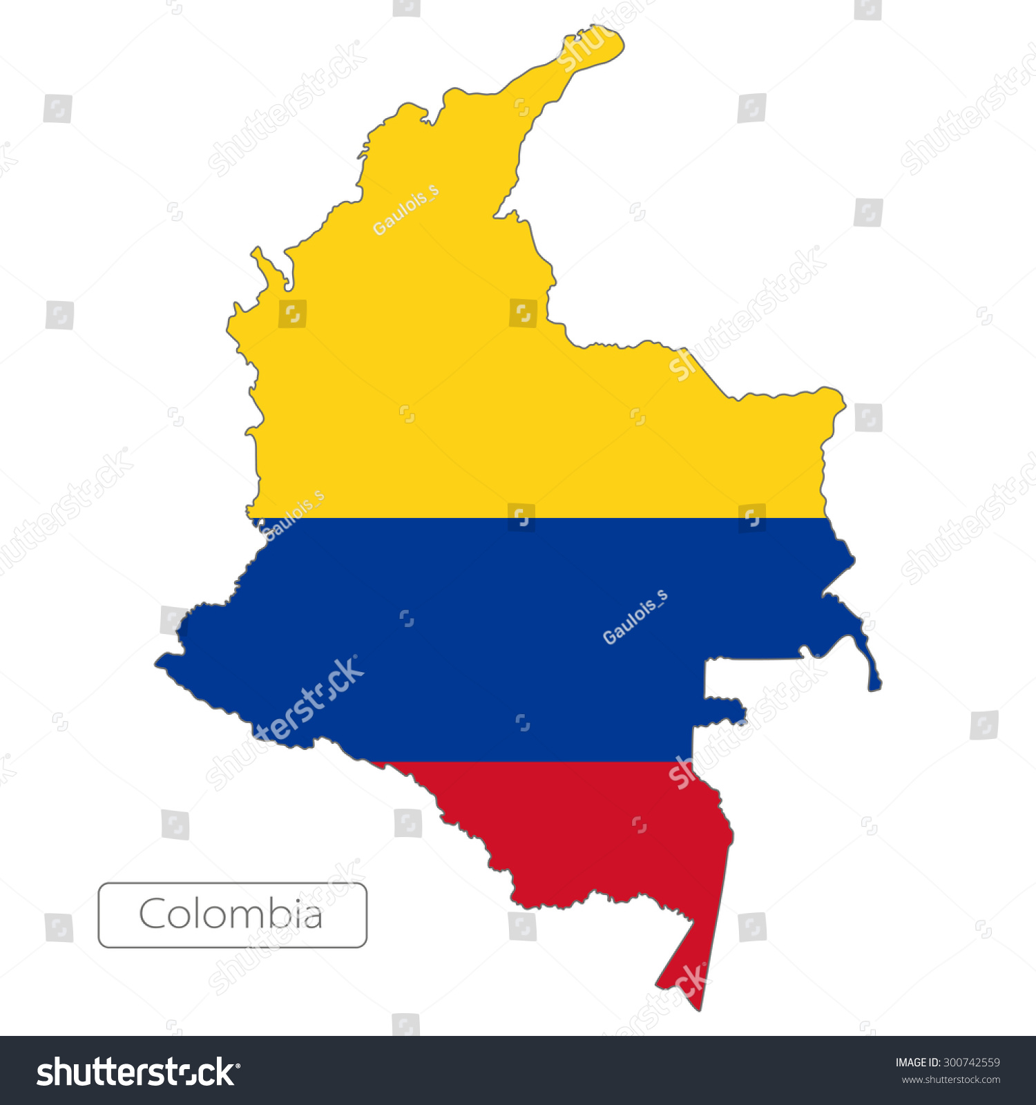 Map Colombia Official Flag South America Stock Vector 300742559