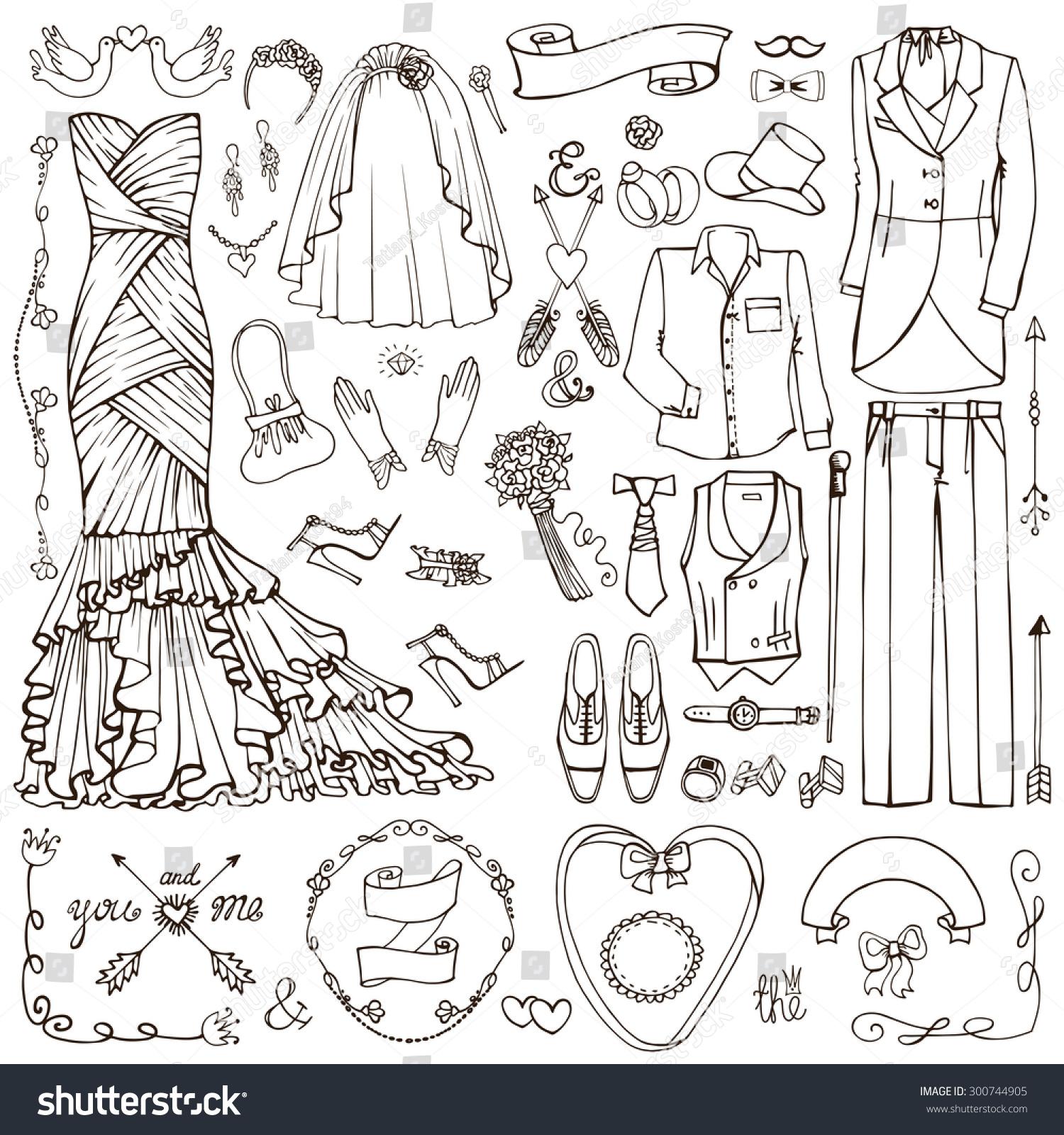 Wedding Fashion Dress Weardecor Elementsdoodle Bride Stock ...