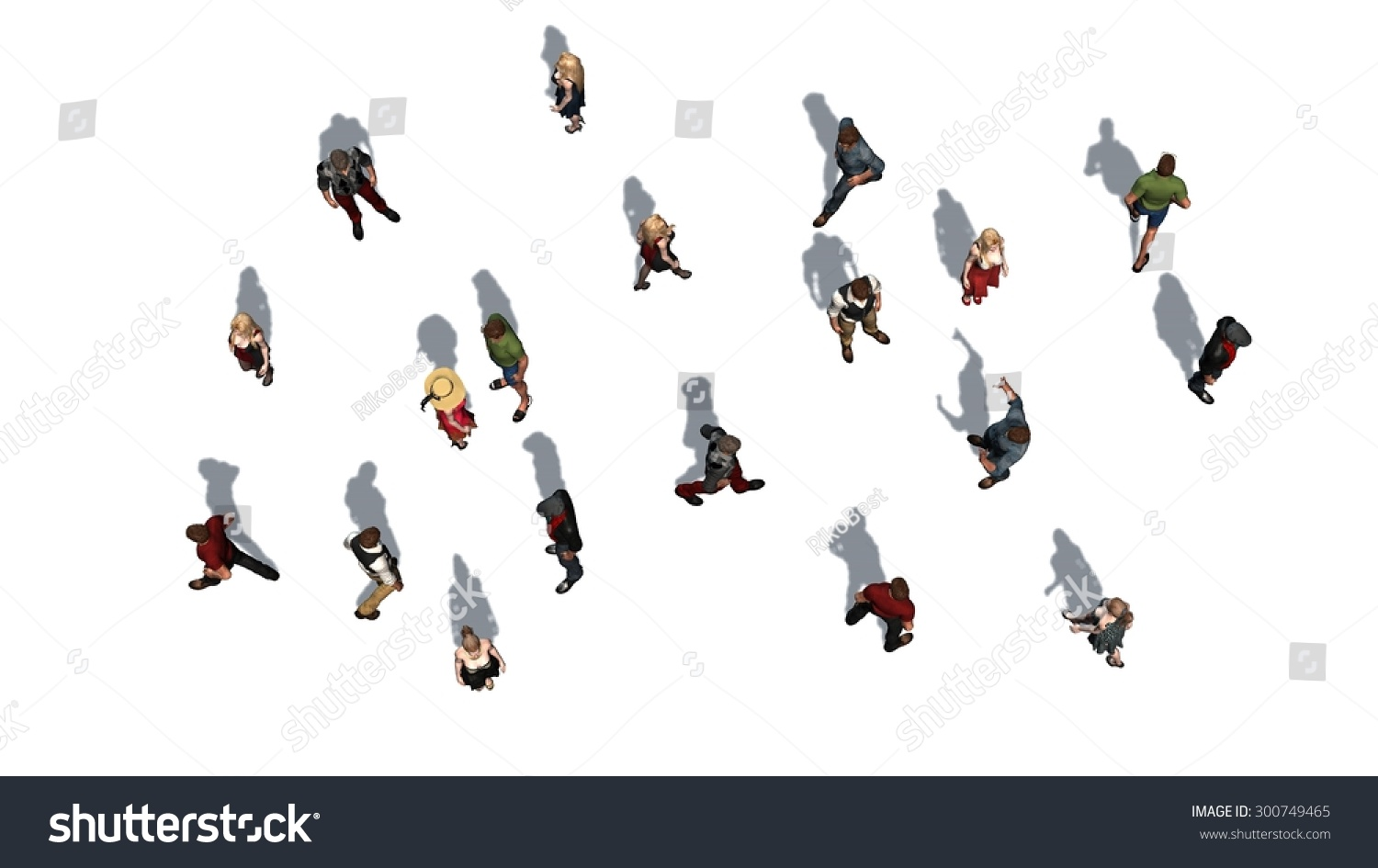 Stock Photo A Crowd Of People In Top View Isolated On White Background