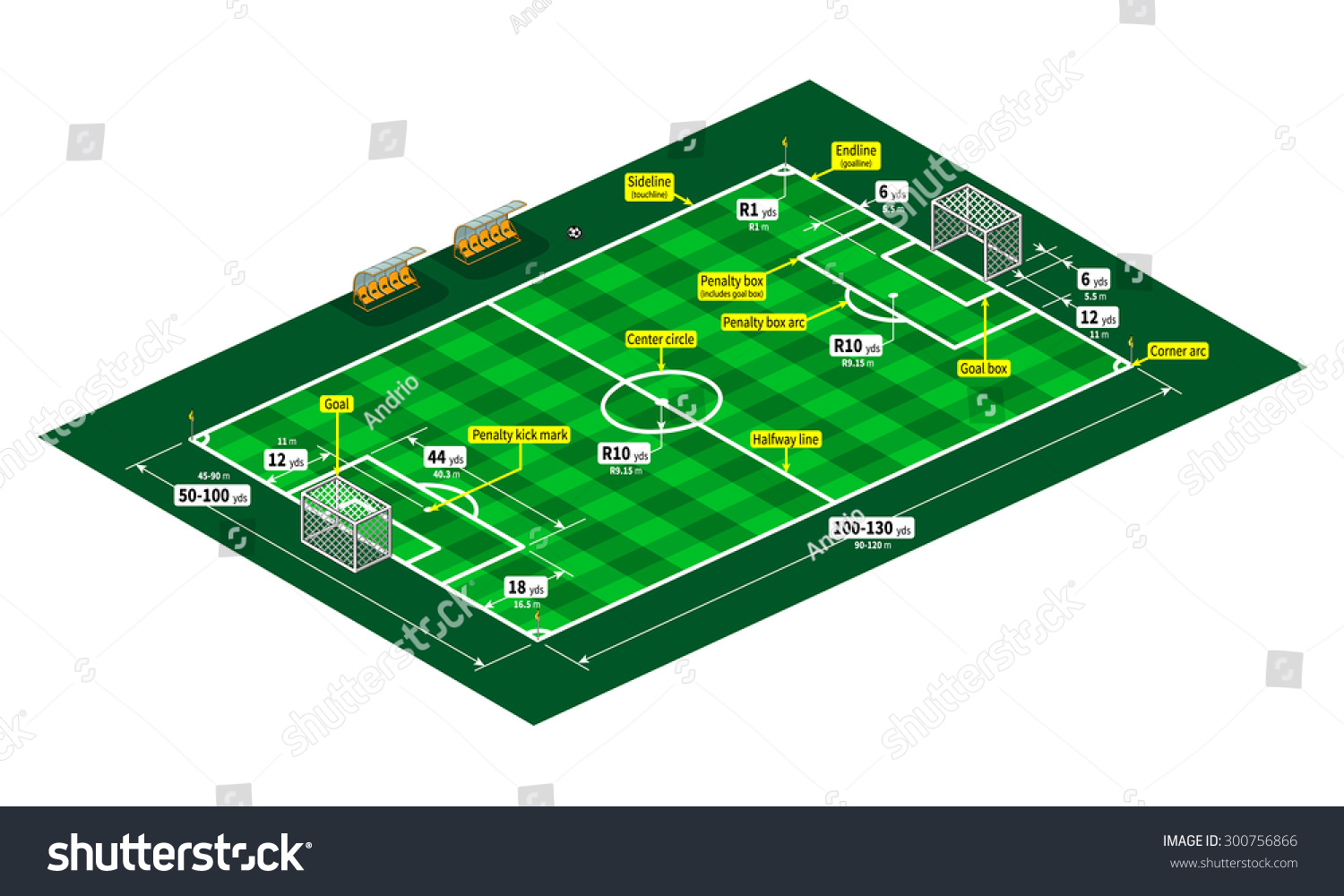 Soccer Football Field Measurements Isometric View Stock Vector Royalty Free 300756866