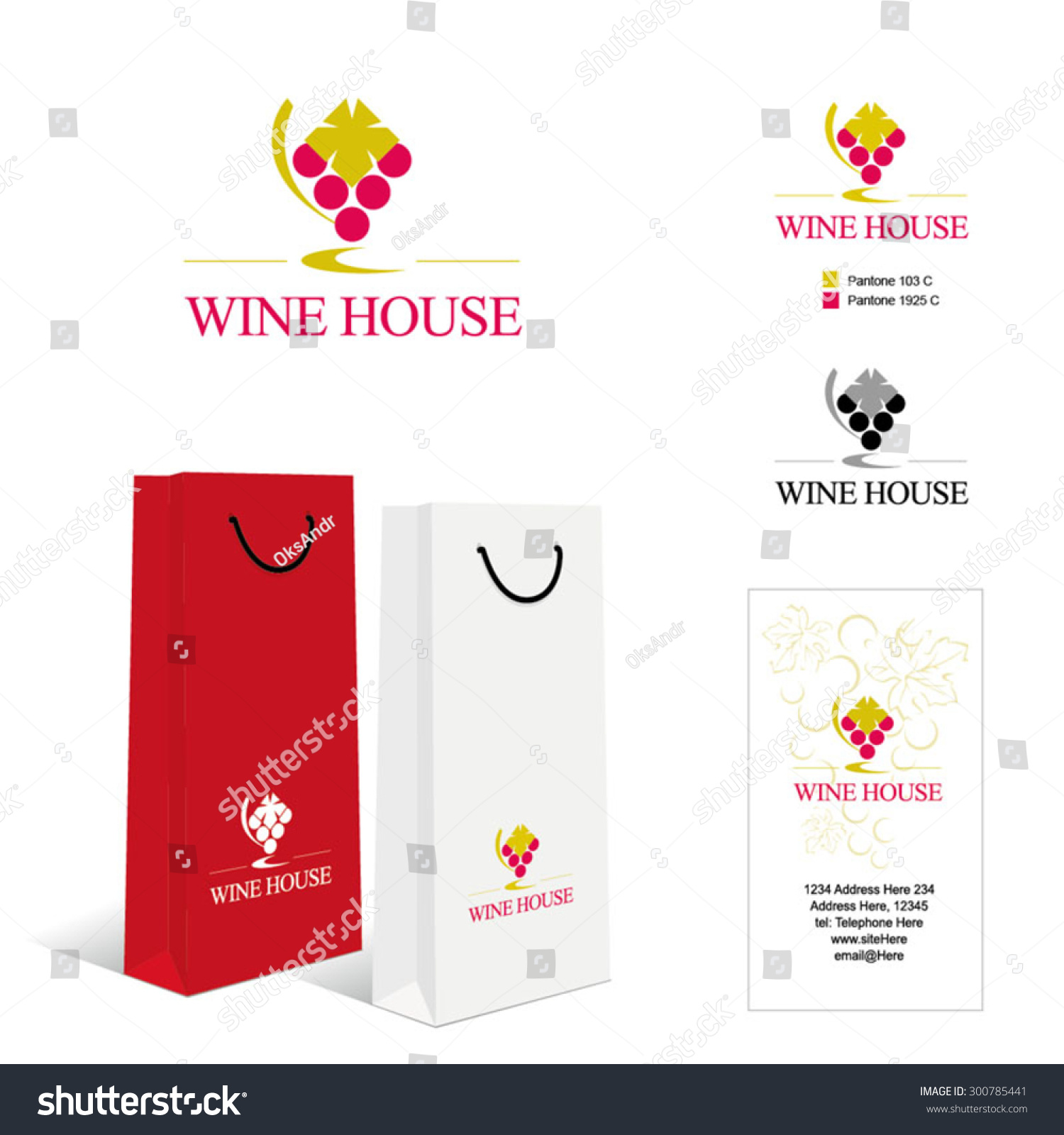 Wine House Logo Template Business Card Stock Vector 300785441 ...