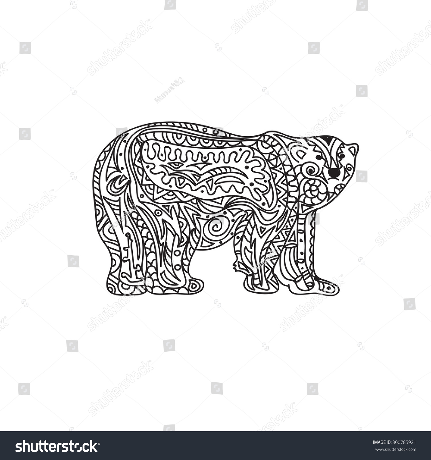 Polar Bear Coloring Page Stock Vector 300785921 - Shutterstock