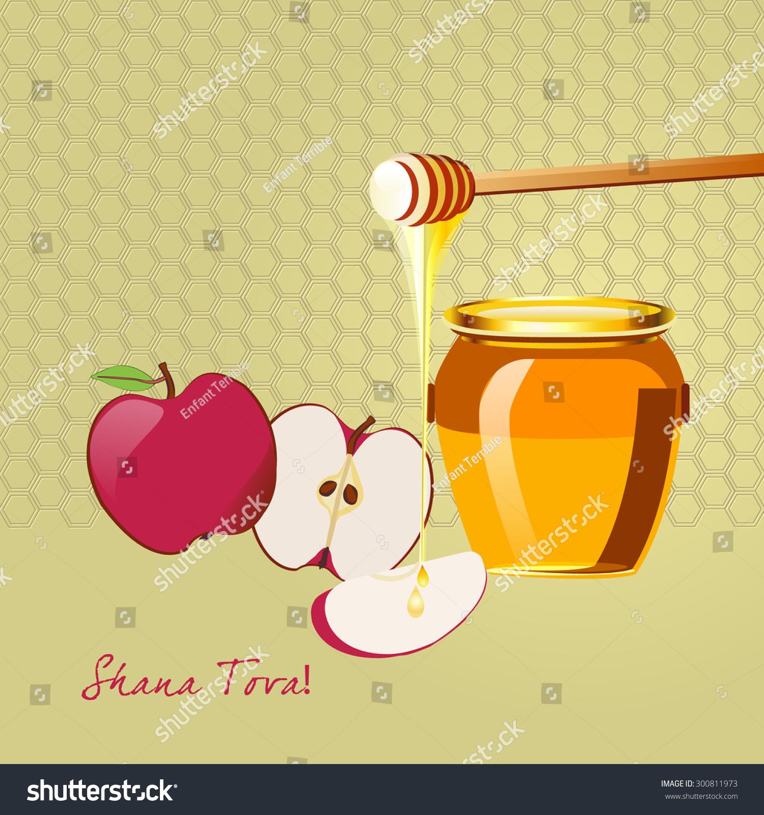 honey jar dipper red apples greeting stock vector 300811973