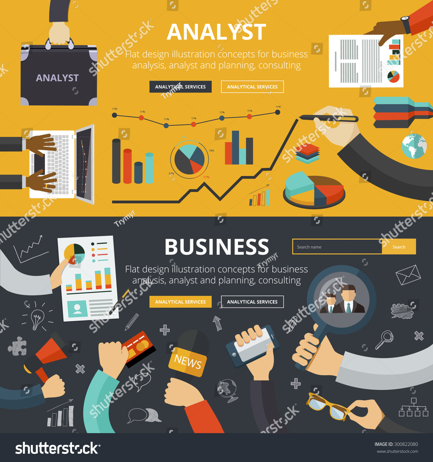 Flat Design Illustration Concepts For Business Analysis