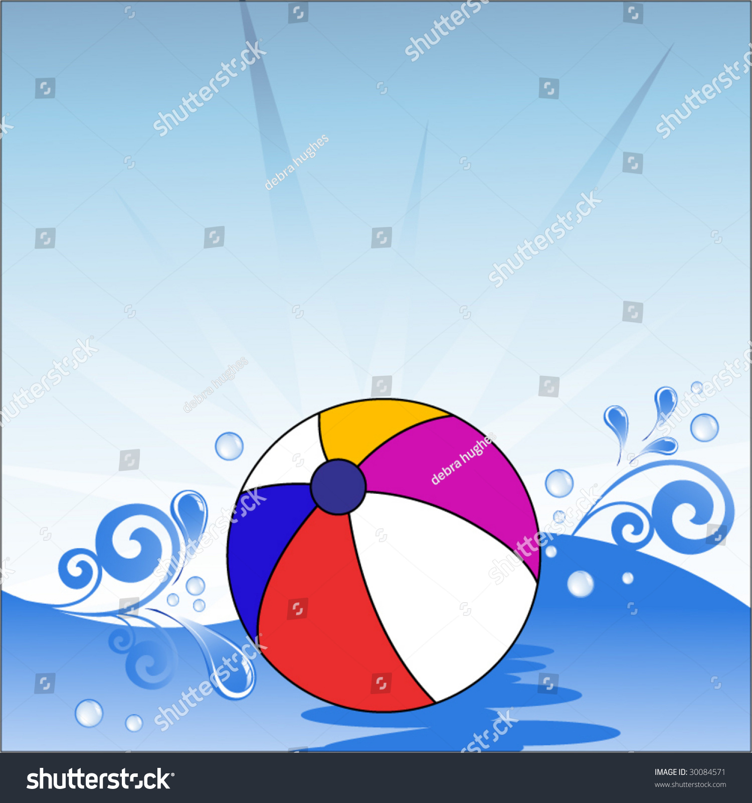 Beach Ball In Water beach ball floating on water waves stock vector 30084571