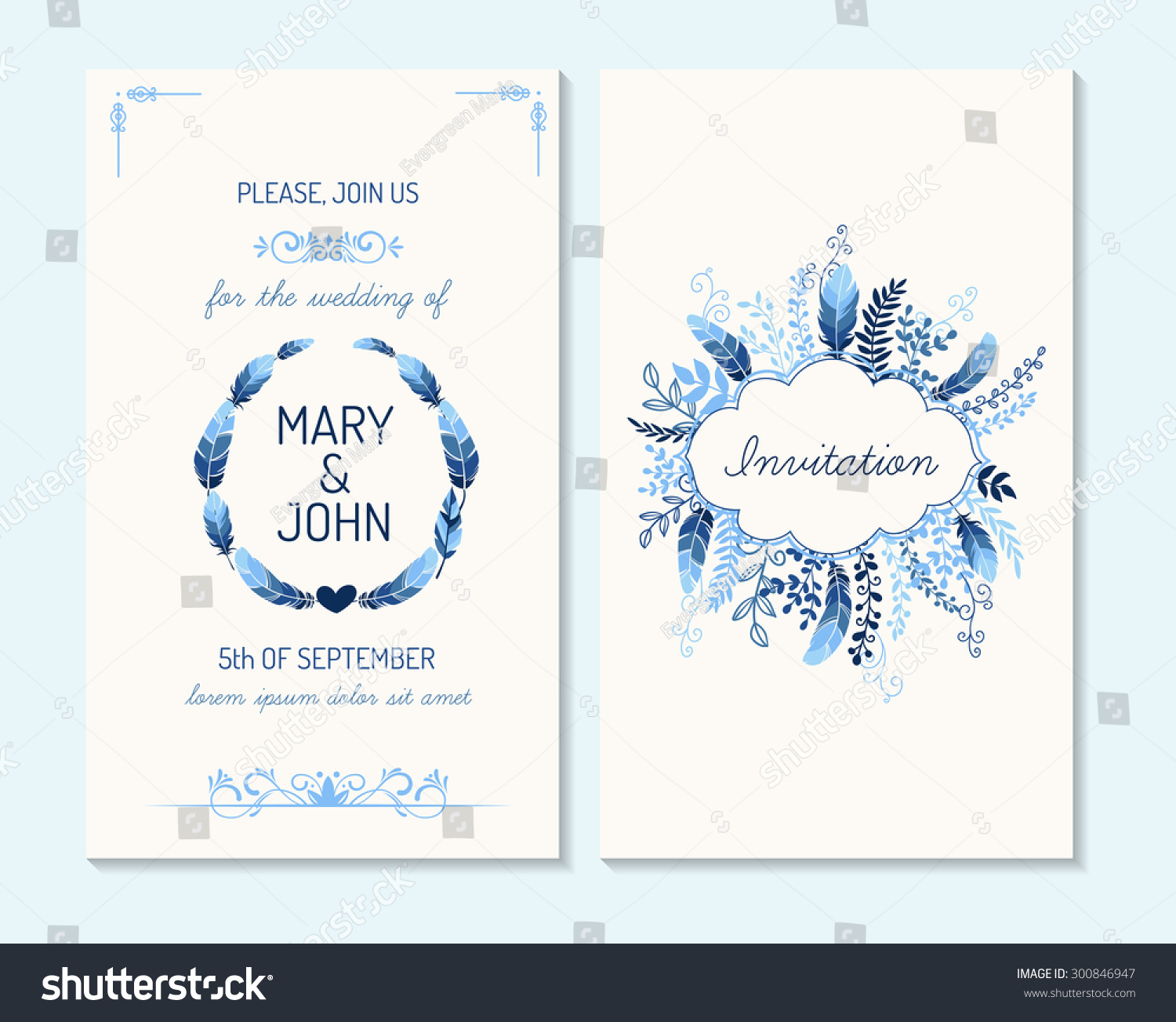 Wedding Invitation Thank You Card Save Stock Vector 300846947 ...