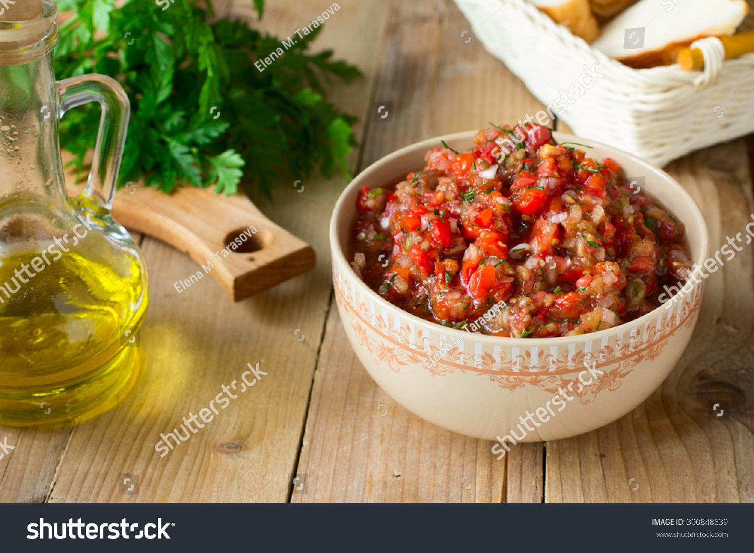Eggplant Caviar Tomatoes Roasted Bell Pepper Stock Photo ...