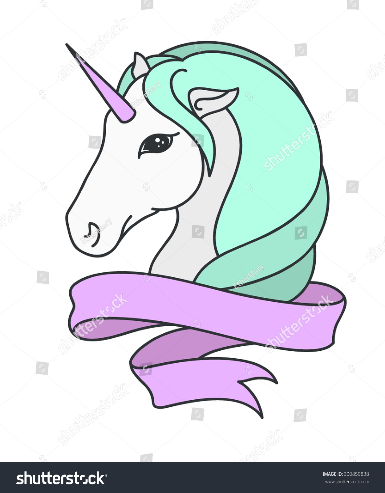 unicorn head illustration