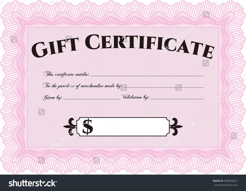 Formal Gift Certificate Template Excellent Design Stock Vector
