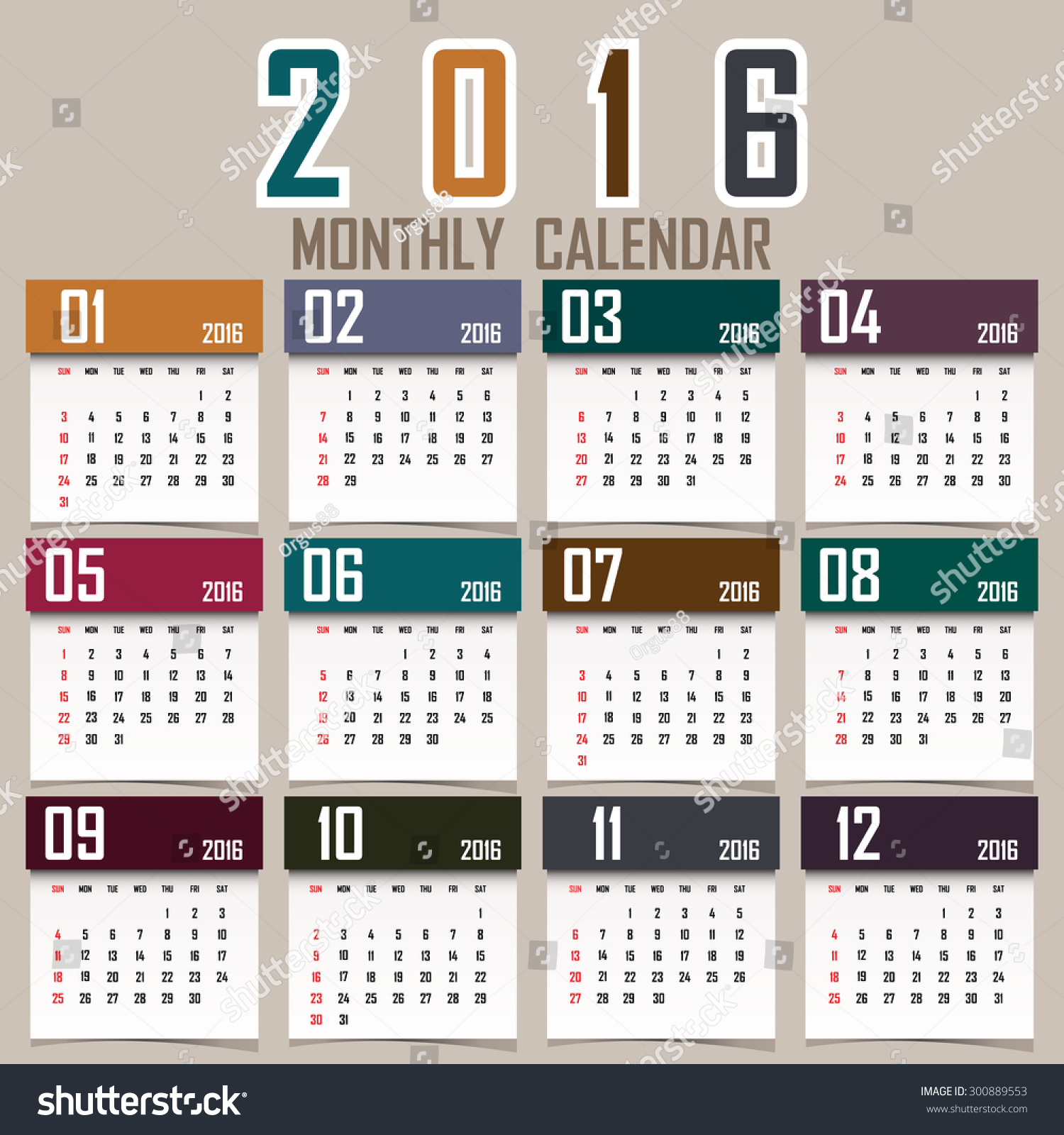 Vertical Calendar Design : Simple calendar design stock vector