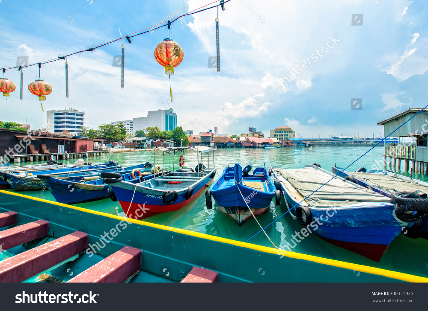 Penang Malaysia July 17 2015 Boats at the Chew Jetty which is one of the UNESCO World Heritage Site in Penang