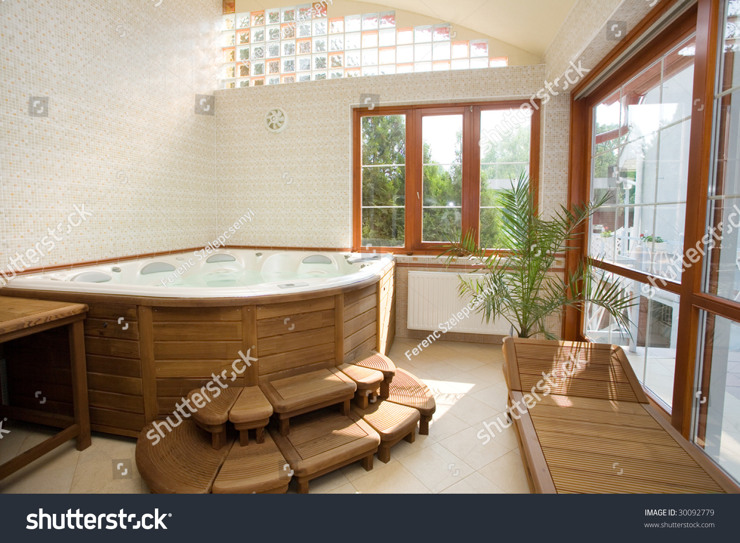 modern spa interior with jacuzzi stock photo 30092779 shutterstock. Black Bedroom Furniture Sets. Home Design Ideas