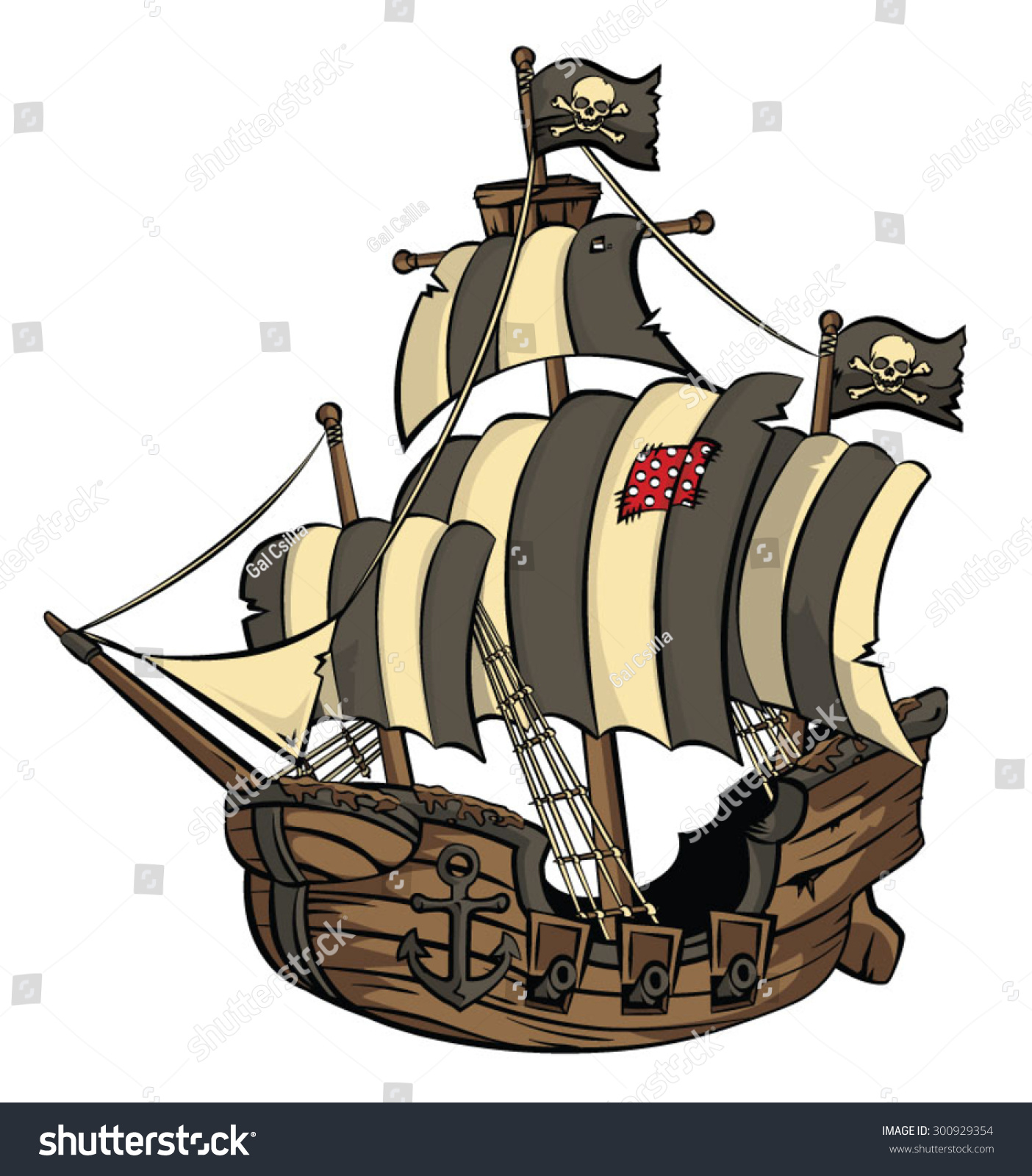 An Old Cartoon Style Galleon/Pirate Ship Stock Vector ...