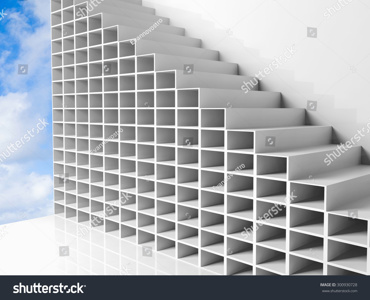 Abstract Architecture Cloudy Sky White 3d Stock