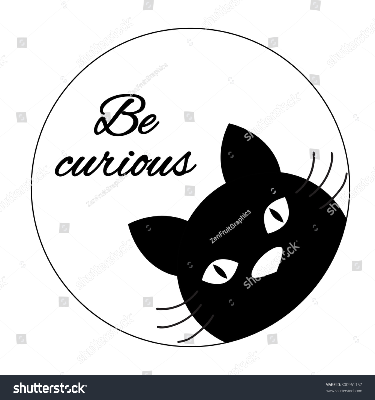 Funny Cat Card Design Cute Cat Stock Vector Royalty Free 300961157