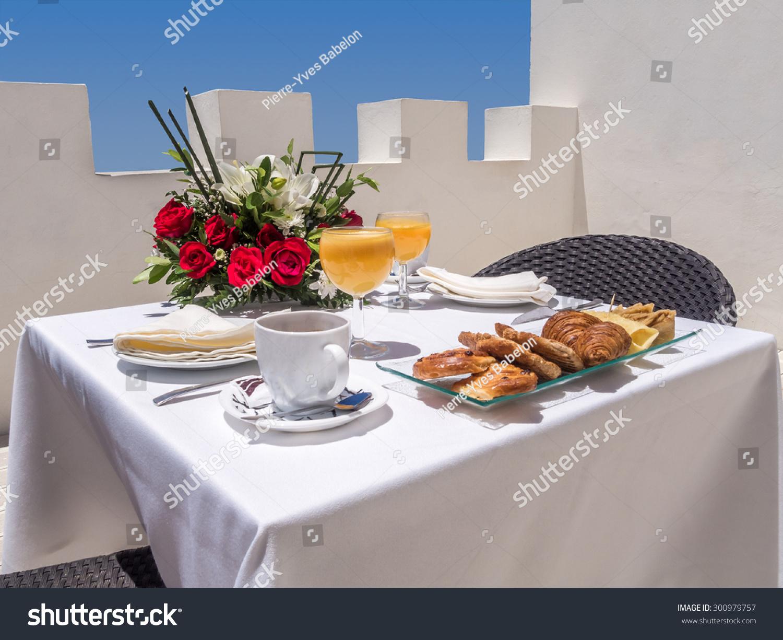 Continental breakfast on a terrace stock photo 300979757 for Breakfast terrace