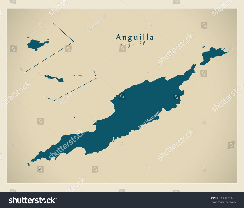 Modern Map Anguilla Ai Stock Vector 300992639 Shutterstock