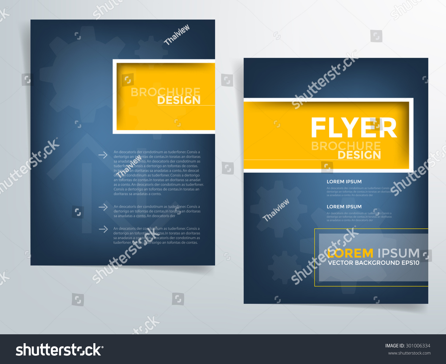 blue brochure template flyer design background stock vector blue brochure template flyer design background and yellow square box element and space for add picture