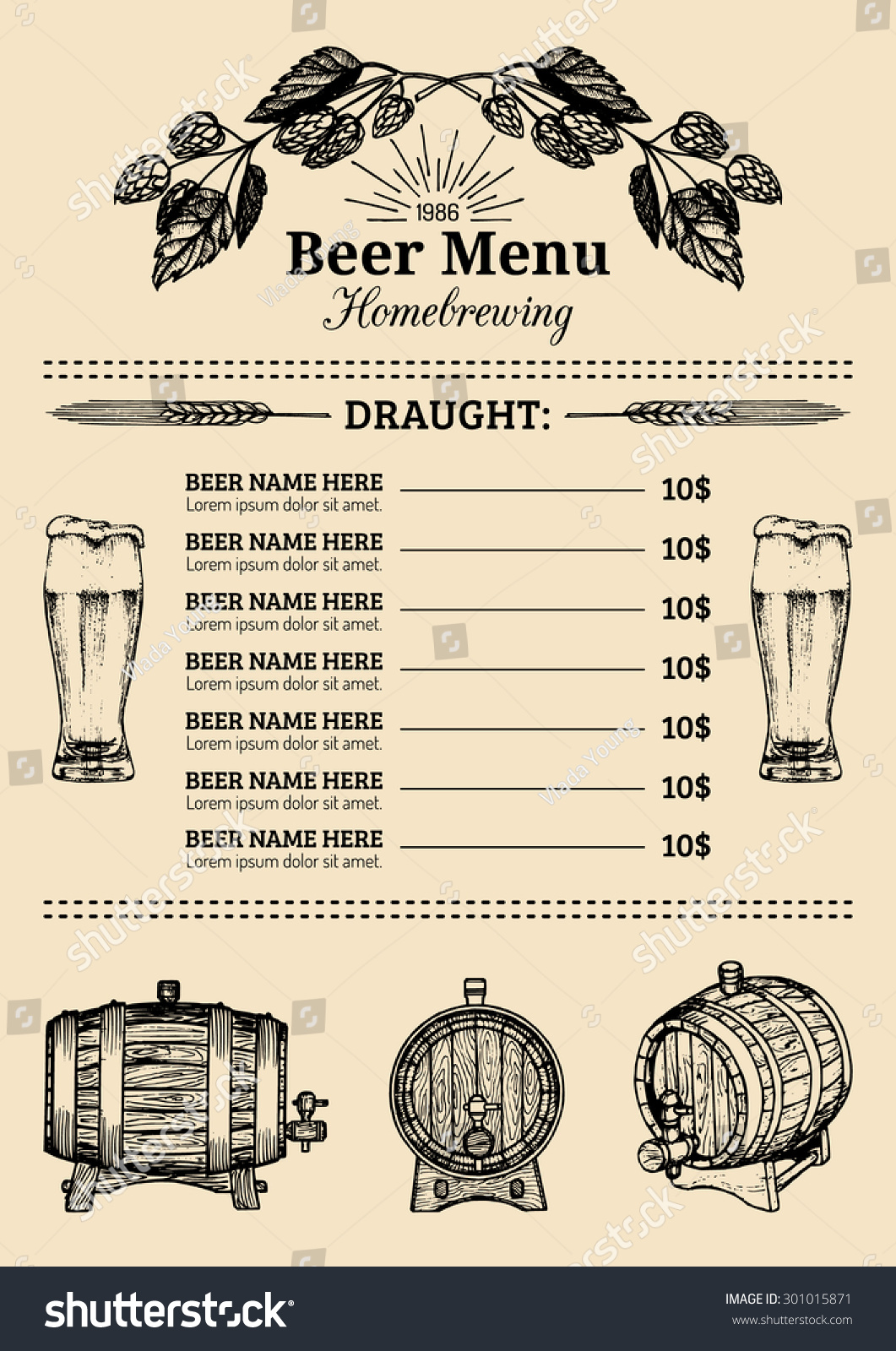 Beer Menu Design Template Vector Bar Vector 301015871 – Beer Menu