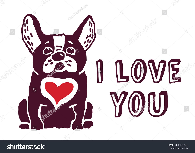 french bulldog red heart love you のベクター画像素材 ロイヤリティ