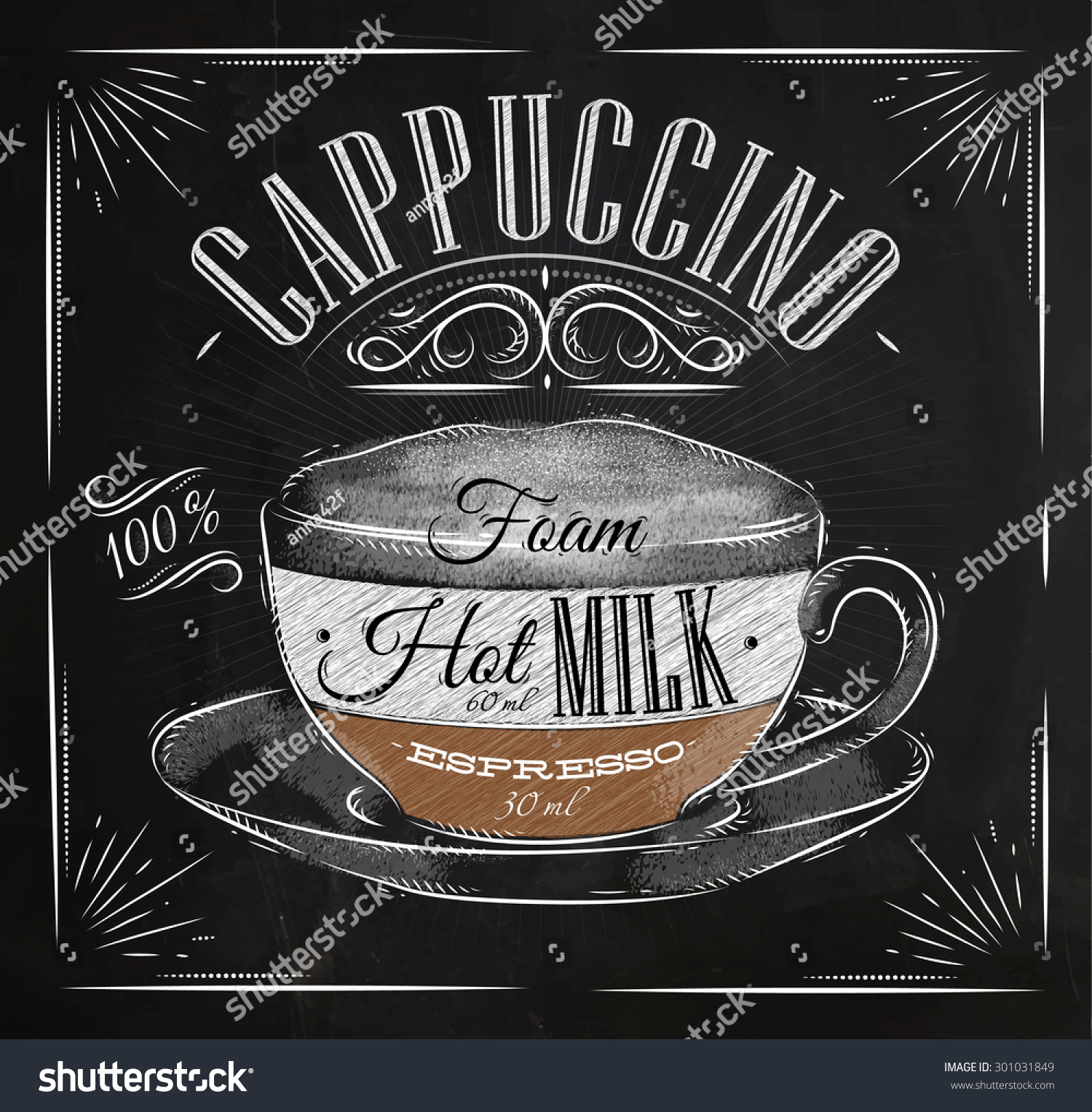 Poster Coffee Cappuccino Vintage Style Drawing Stock