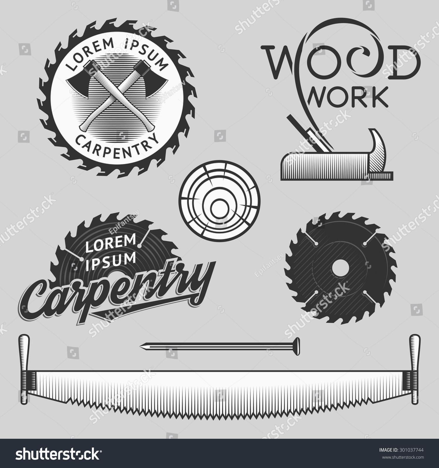 vintage wood works carpentry logos emblems stock vector 301037744 shutterstock. Black Bedroom Furniture Sets. Home Design Ideas