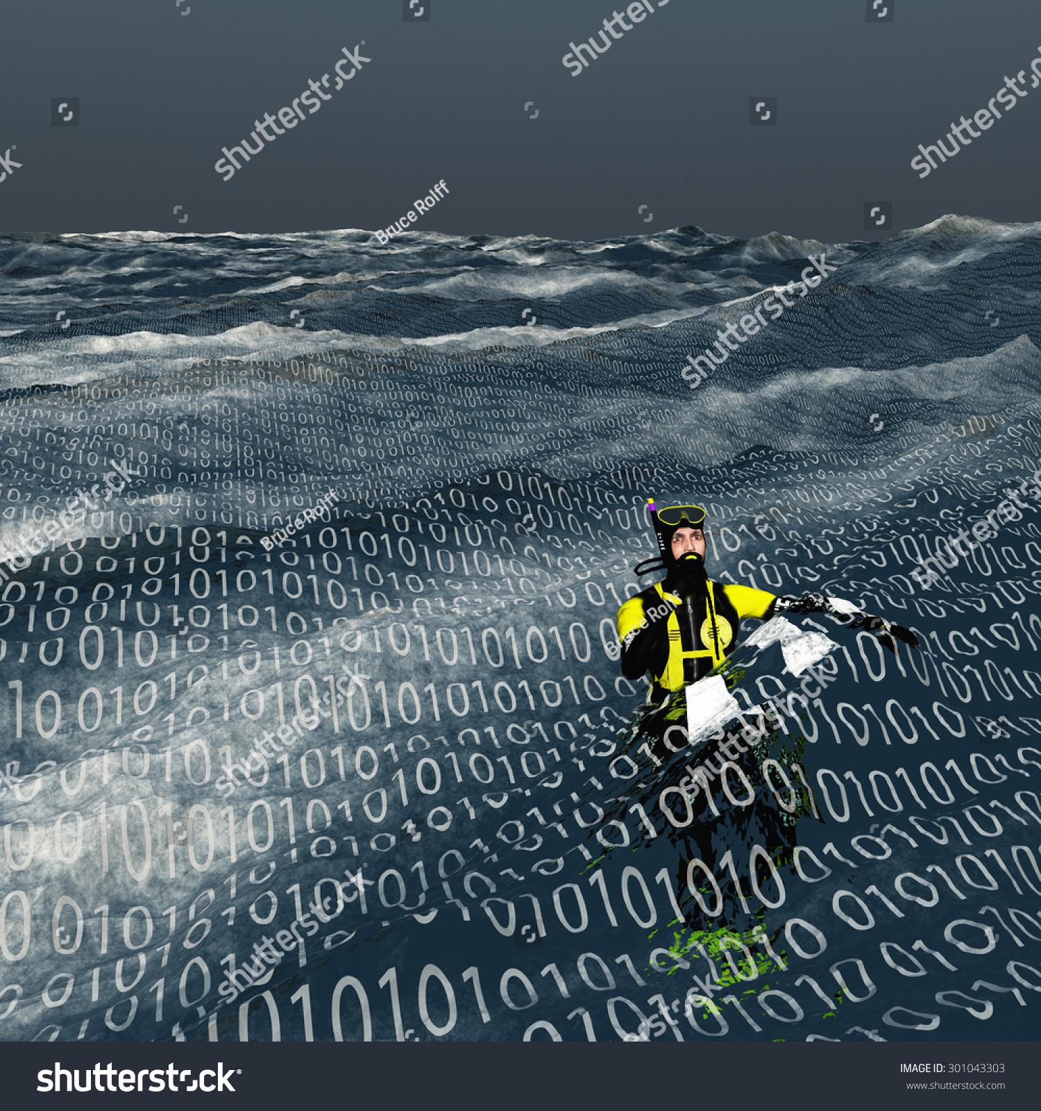 Abstract Surface Computing Stock Photo Diver Floats At Surface Of Binary