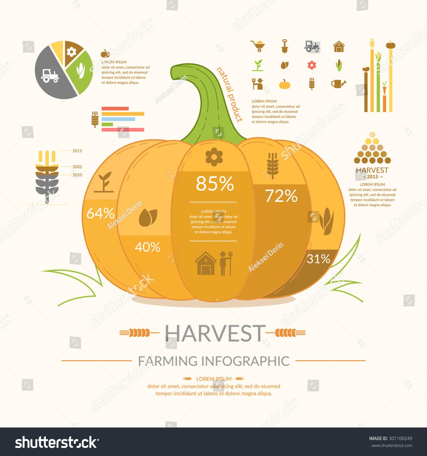 Harvest Farming Infographics Icons Illustrations Design Stock ...
