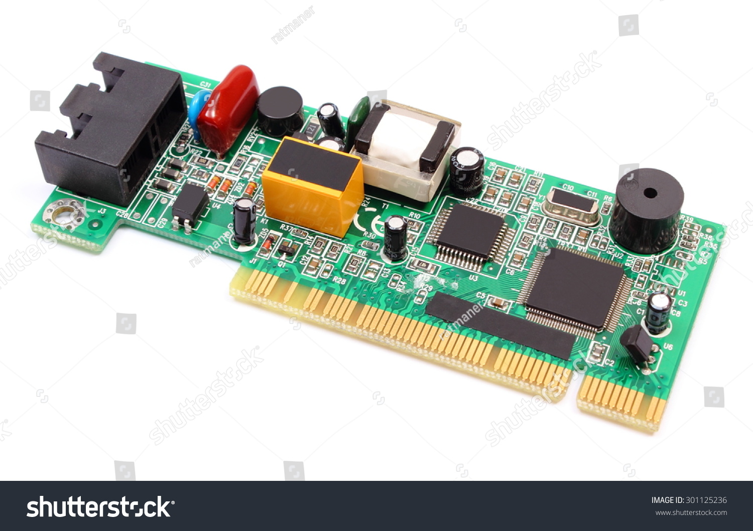 Printed Circuit Board Electrical Components Lying Stock Photo Edit Pcb Electronic Prototype With On White Background Technology