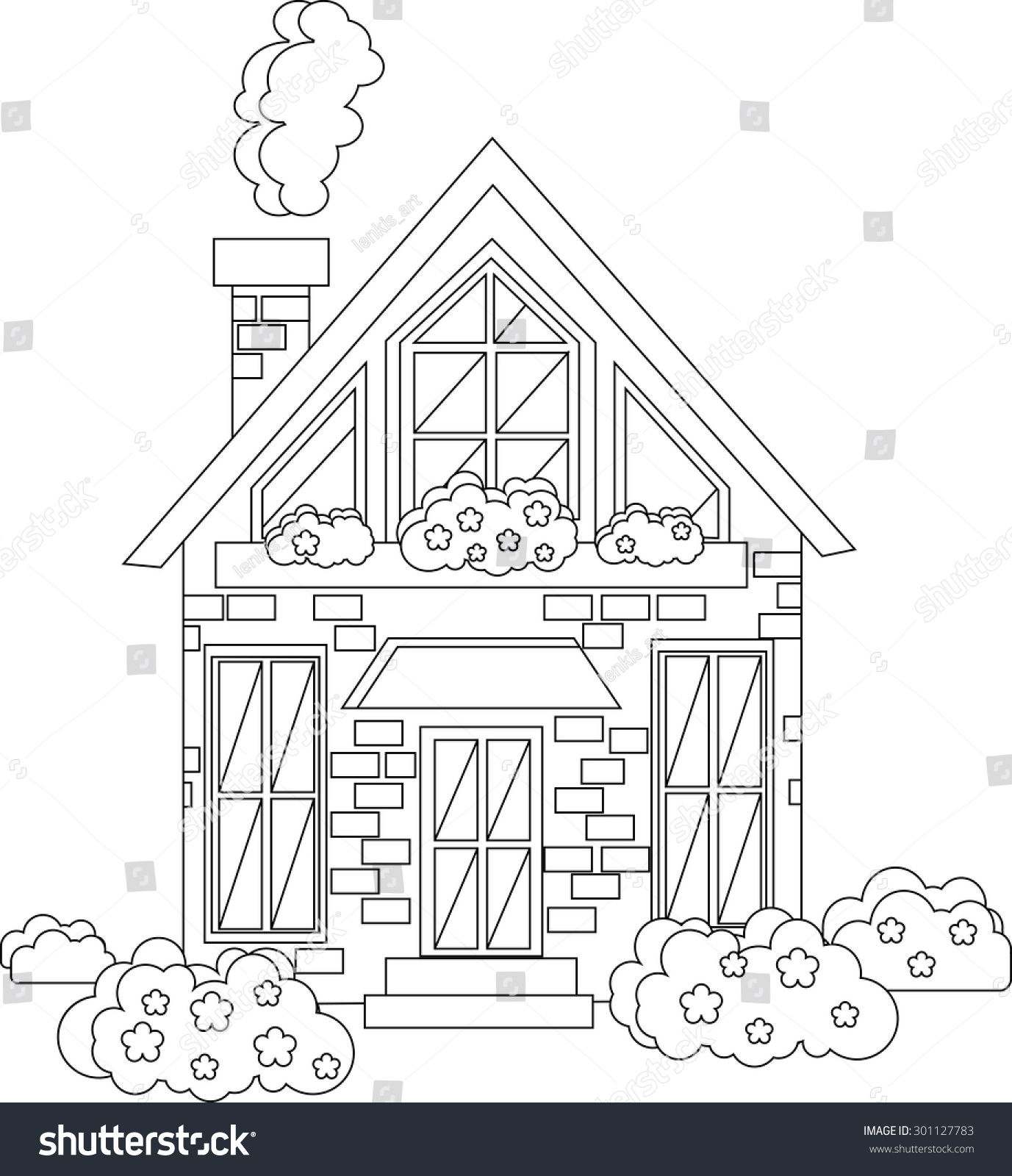 Vector cute outline house illustration for coloring pages monochrome house graphic illustration