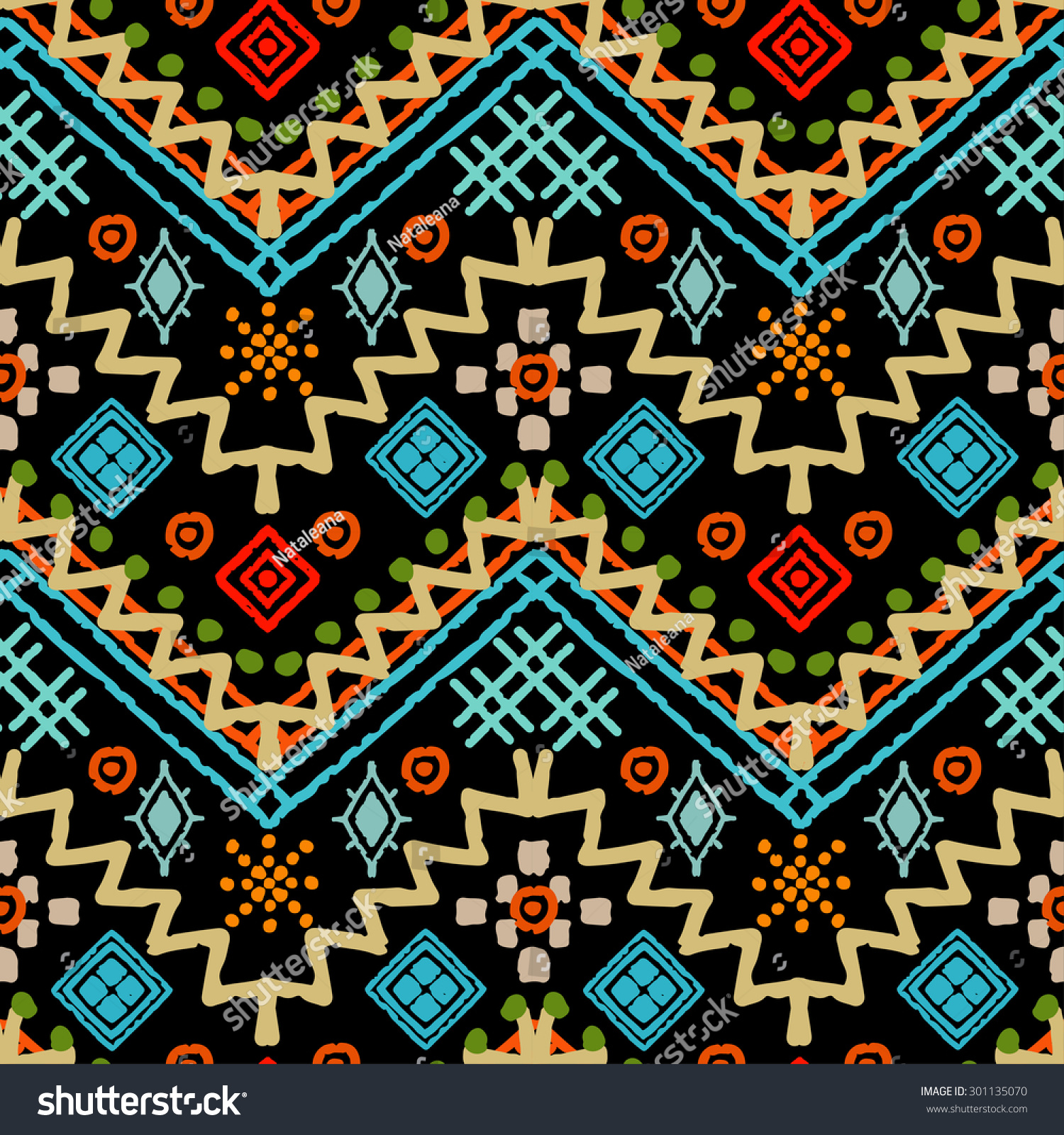 Tribal Art Boho Seamless Pattern Ethnic Stock Vector
