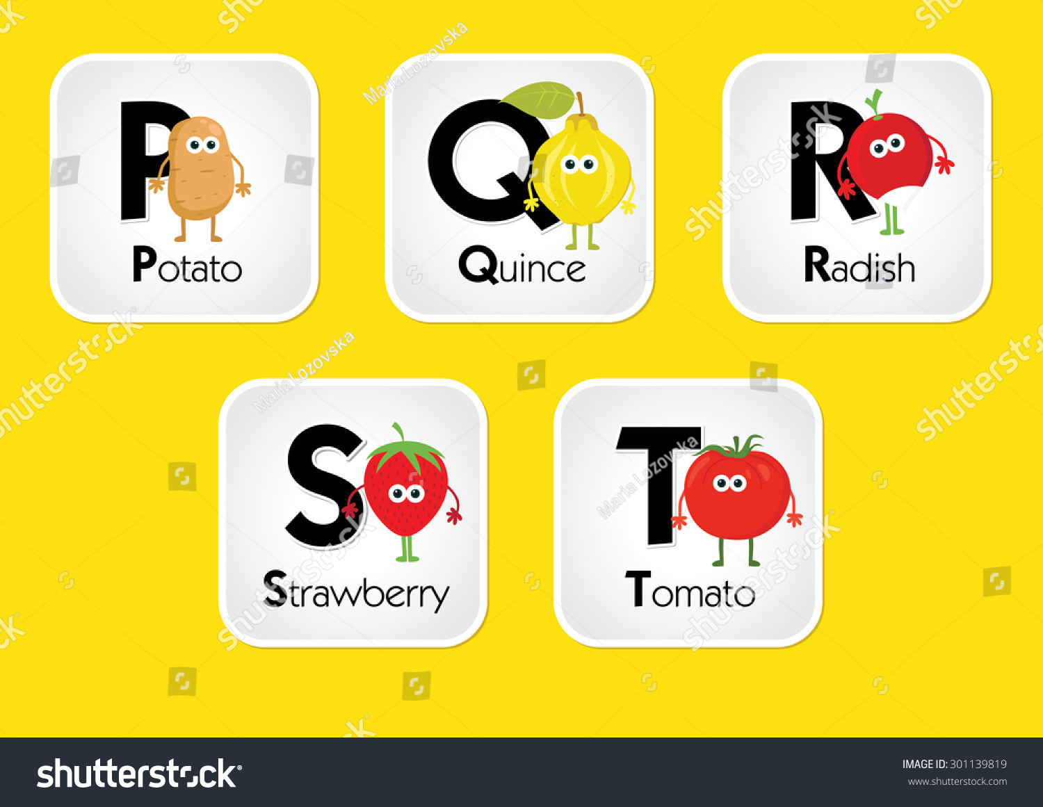 Cartoon Characters 8 Letters : Alphabet kids fruits vegetables letters p stock vector royalty free