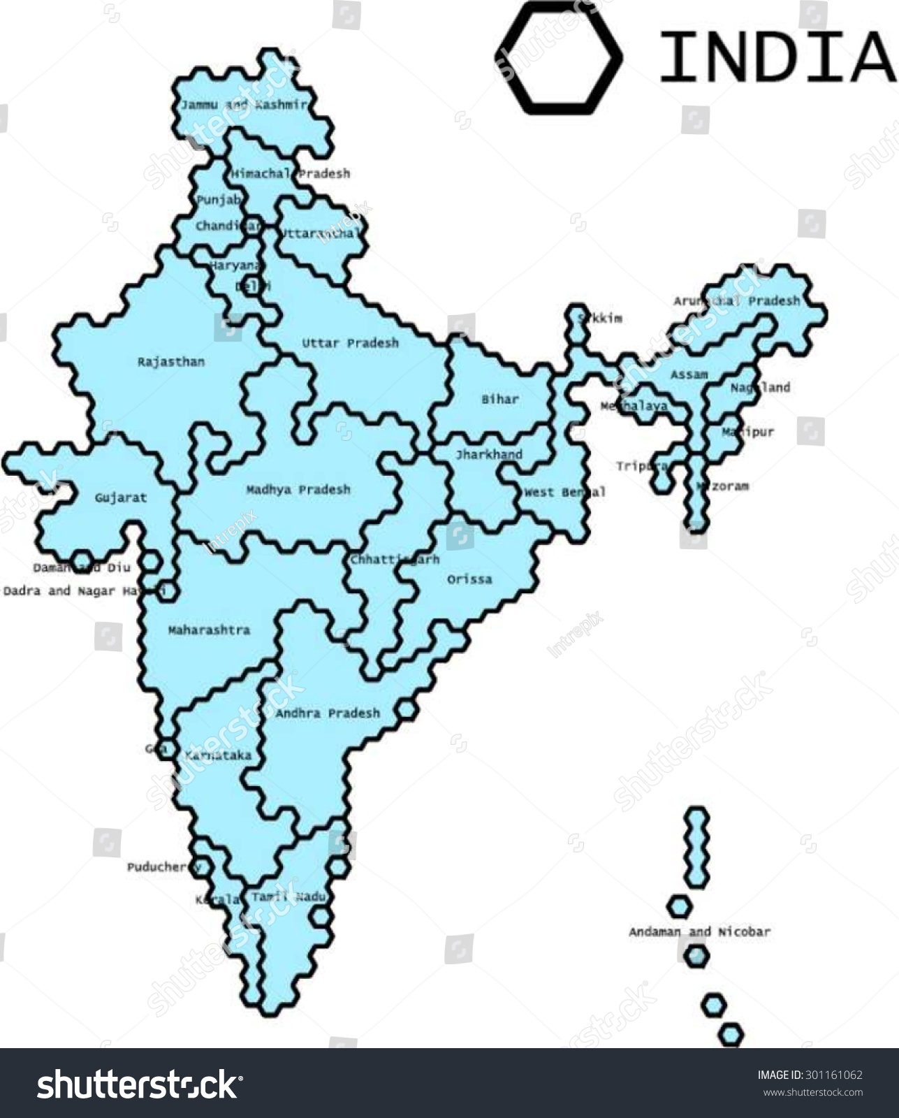 labeled vector map india states lines stock vector 301161062