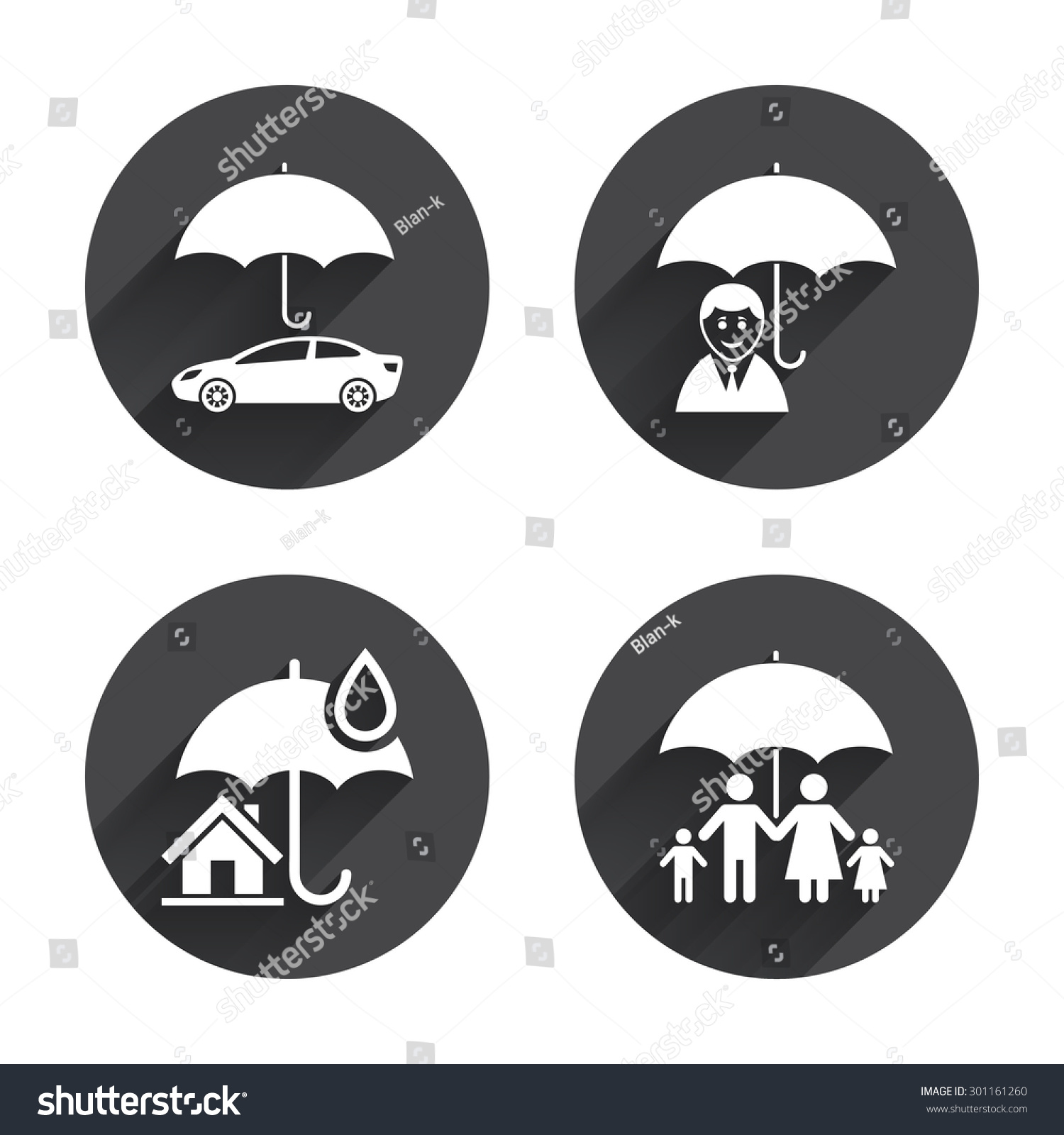 Family Real Estate Home Insurance Icons Stock Vector Royalty Free