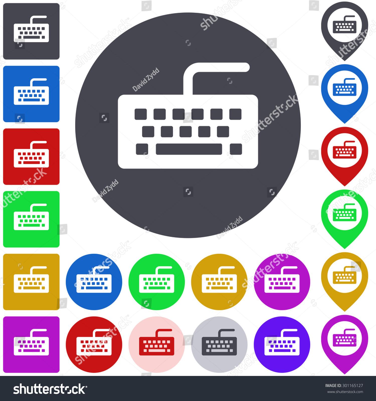 Color Keyboard Icon Button Symbol Set Stock Vector 301165127