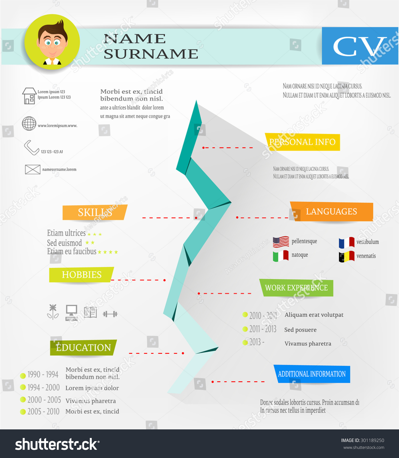 modern curriculum vitae cv resume biography stock vector 301189250