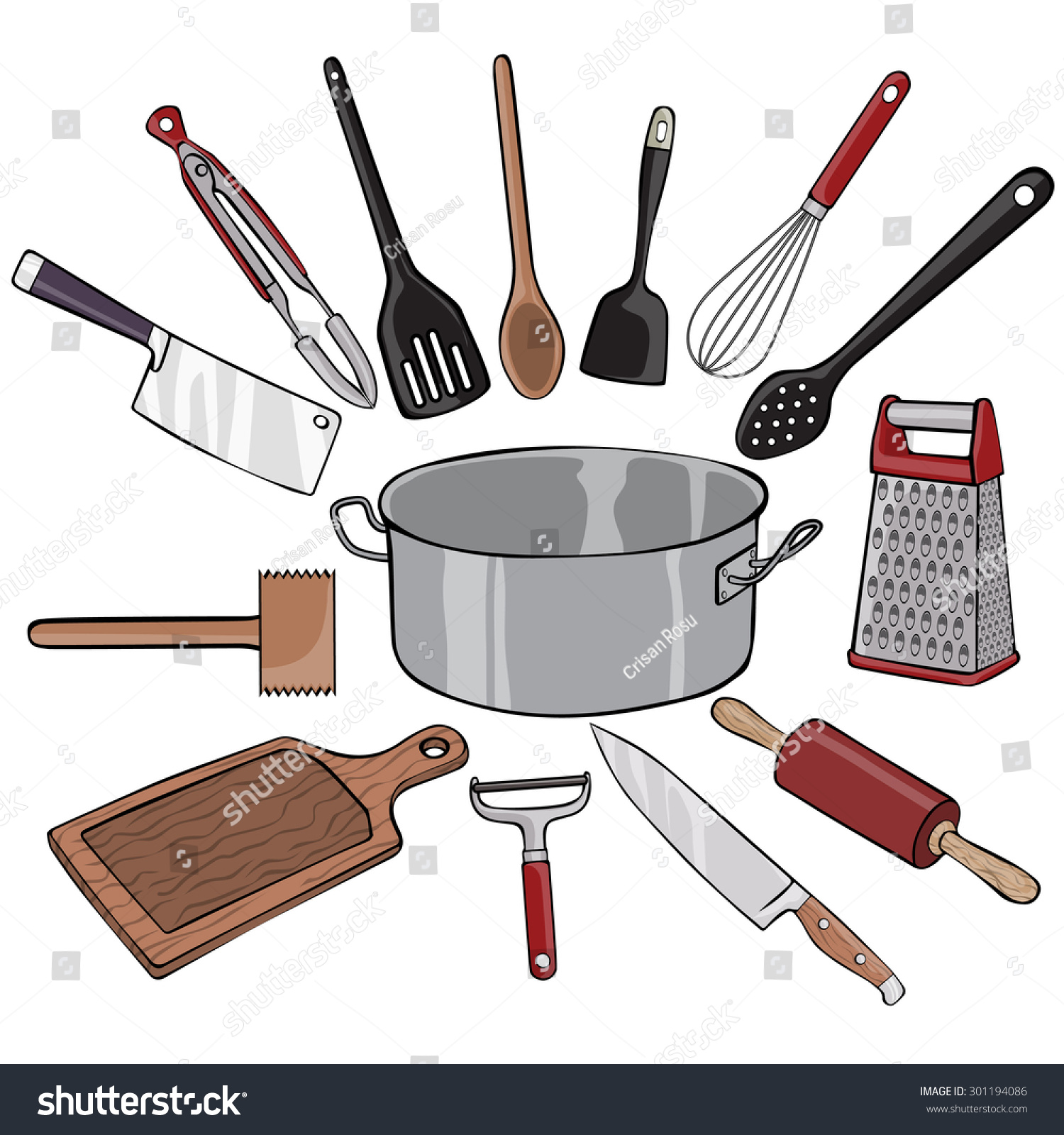 Vector Illustration Kitchen Utensils Cartoon Concept Stock