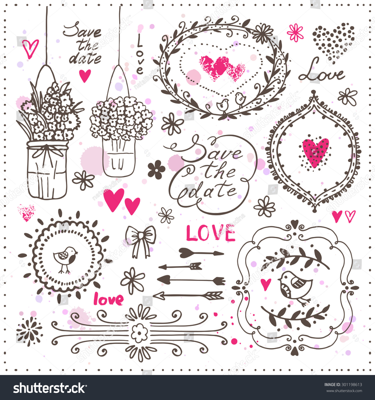 Set hand drawn design elements wedding stock vector hd royalty free set of hand drawn design elements for wedding decoration vector illustration decorative frames junglespirit Gallery