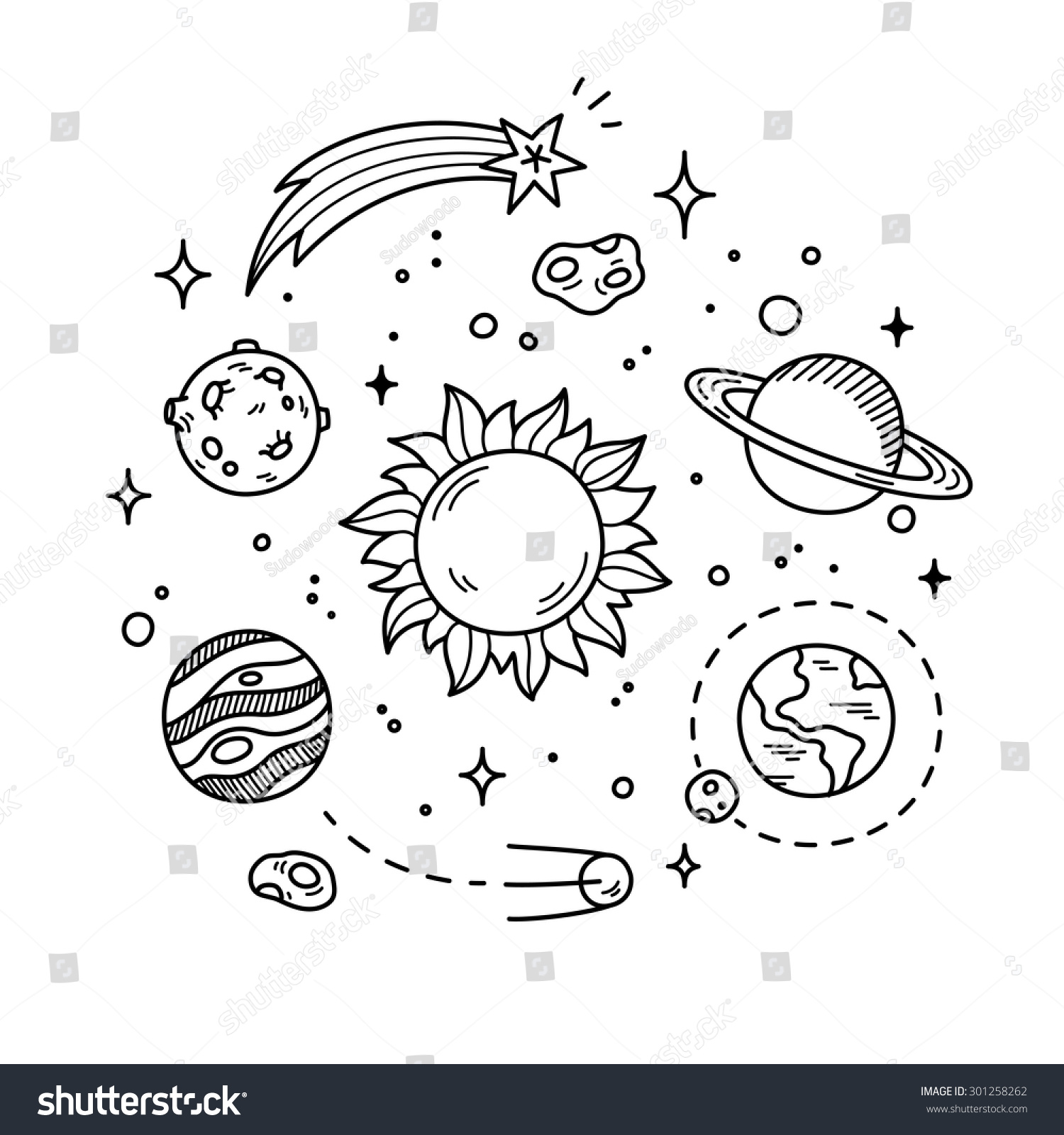Line Art Space : Hand drawn solar system sun planets stock vector