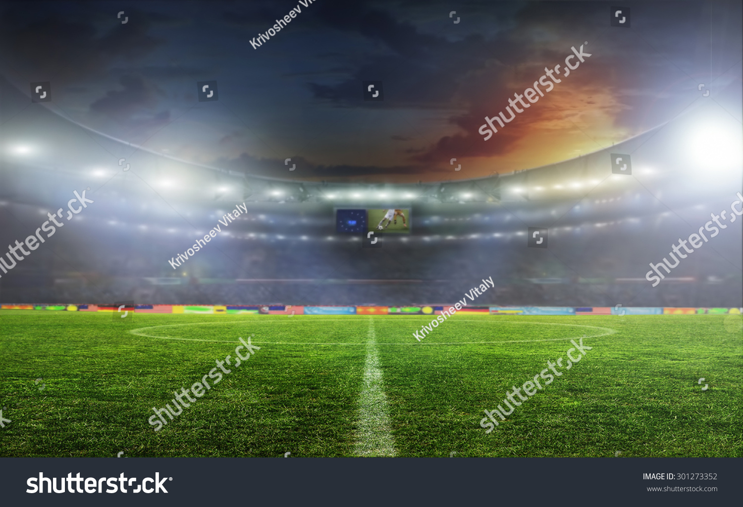 Soccer ball on the field of stadium with light  #301273352