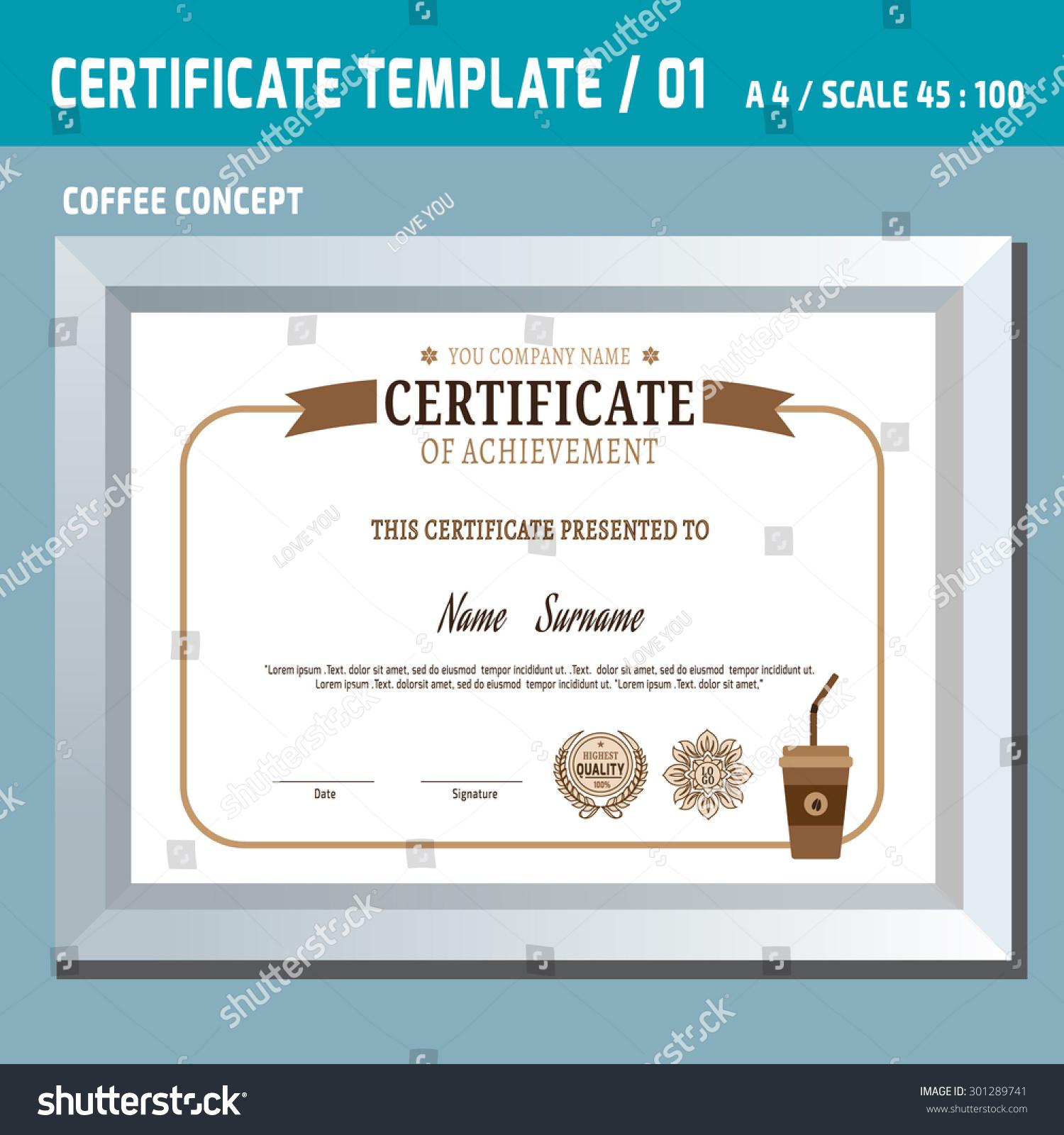 Certificate templatecoffeea 4 vector design template vintage stock certificate templateffeea4 vector design template vintage retro frame diploma background yadclub Gallery