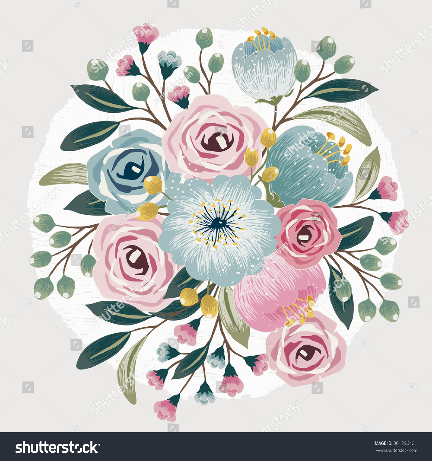 Vector illustration beautiful floral bouquet spring stock vector hd vector illustration of a beautiful floral bouquet with spring flowers for invitations and birthday cards izmirmasajfo