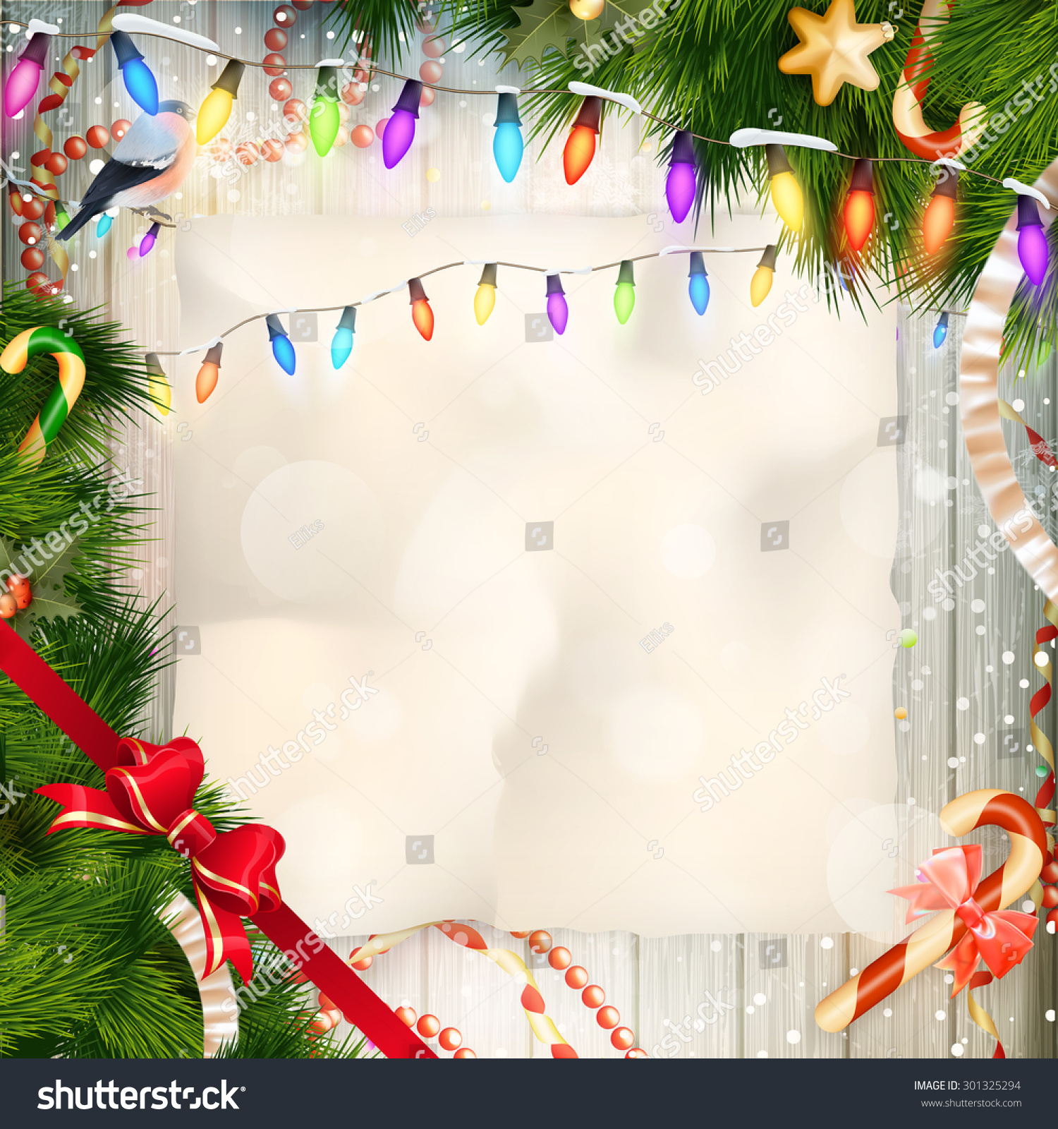 Merry christmas card copy space greeting stock vector 301325294 merry christmas card with copy space for greeting on wooden fence texture eps 10 vector kristyandbryce Choice Image