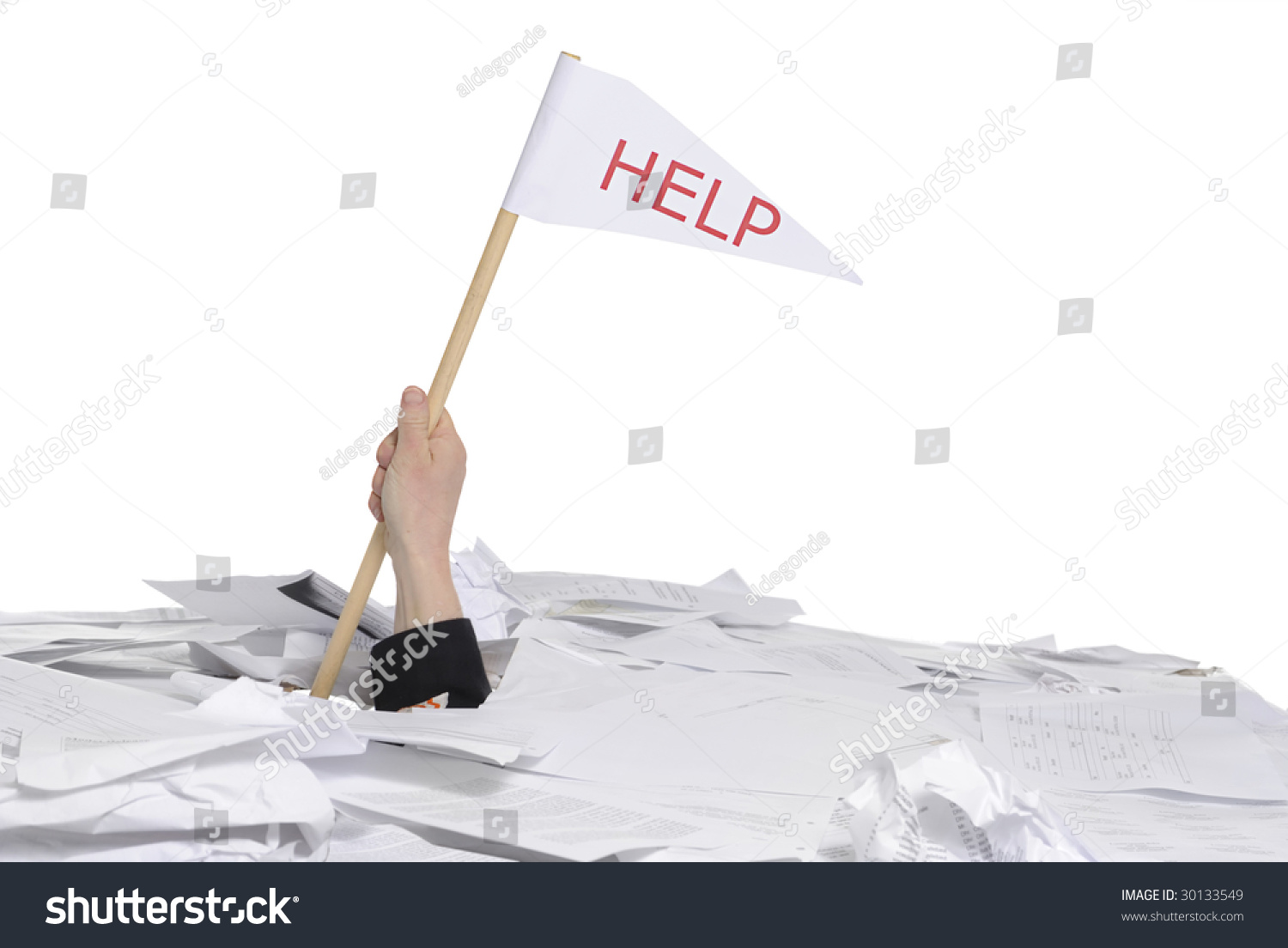 business concept hand sticking out of desk full of papers save to a lightbox