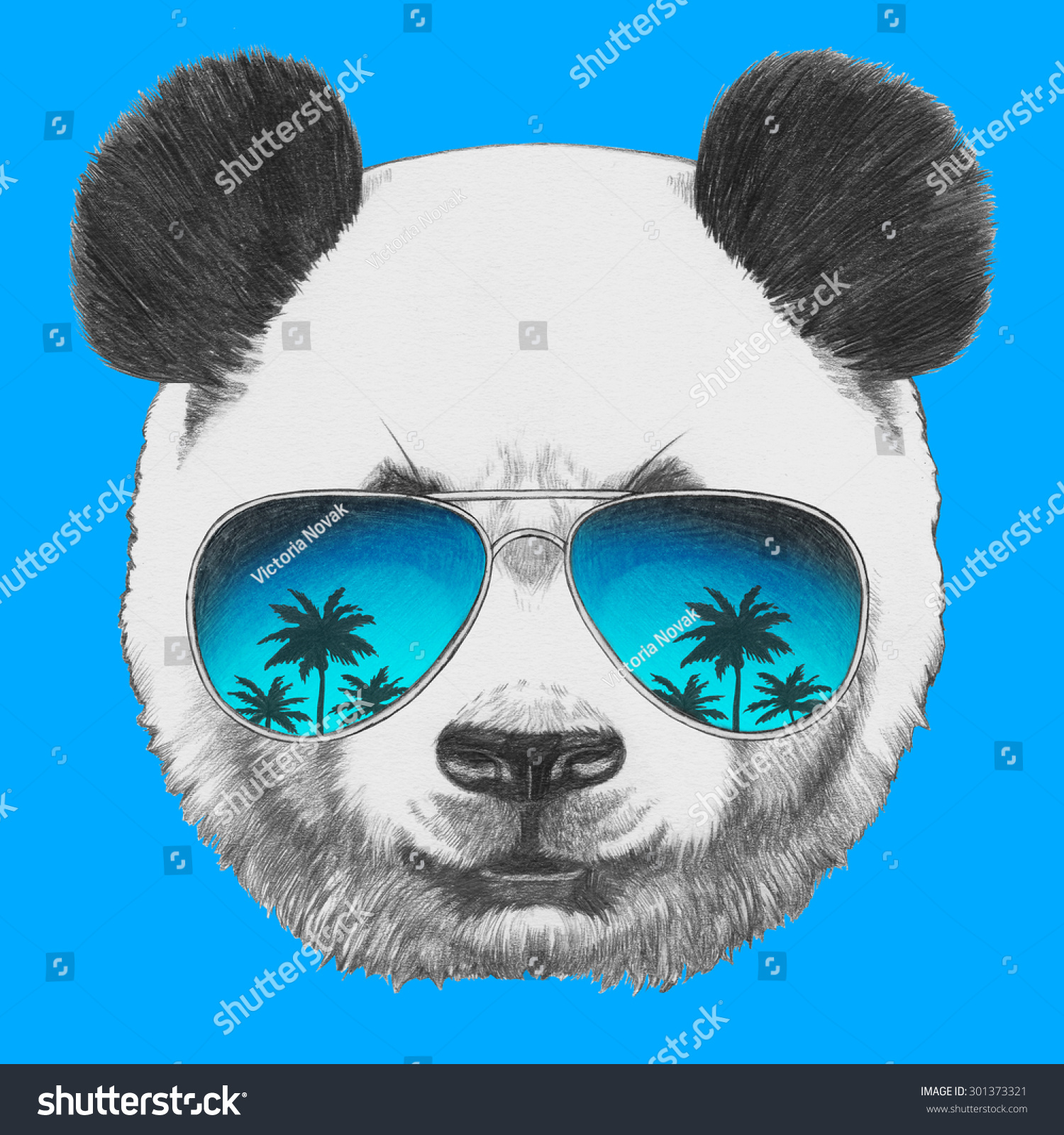 Original Drawing Of Panda With Mirror Sunglasses Isolated On Colored Background