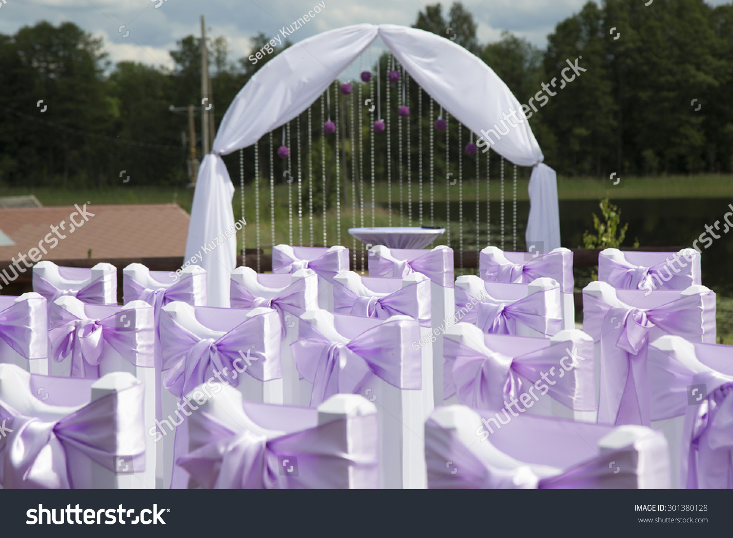 wedding decorations chairs bows arch stock photo 301380128