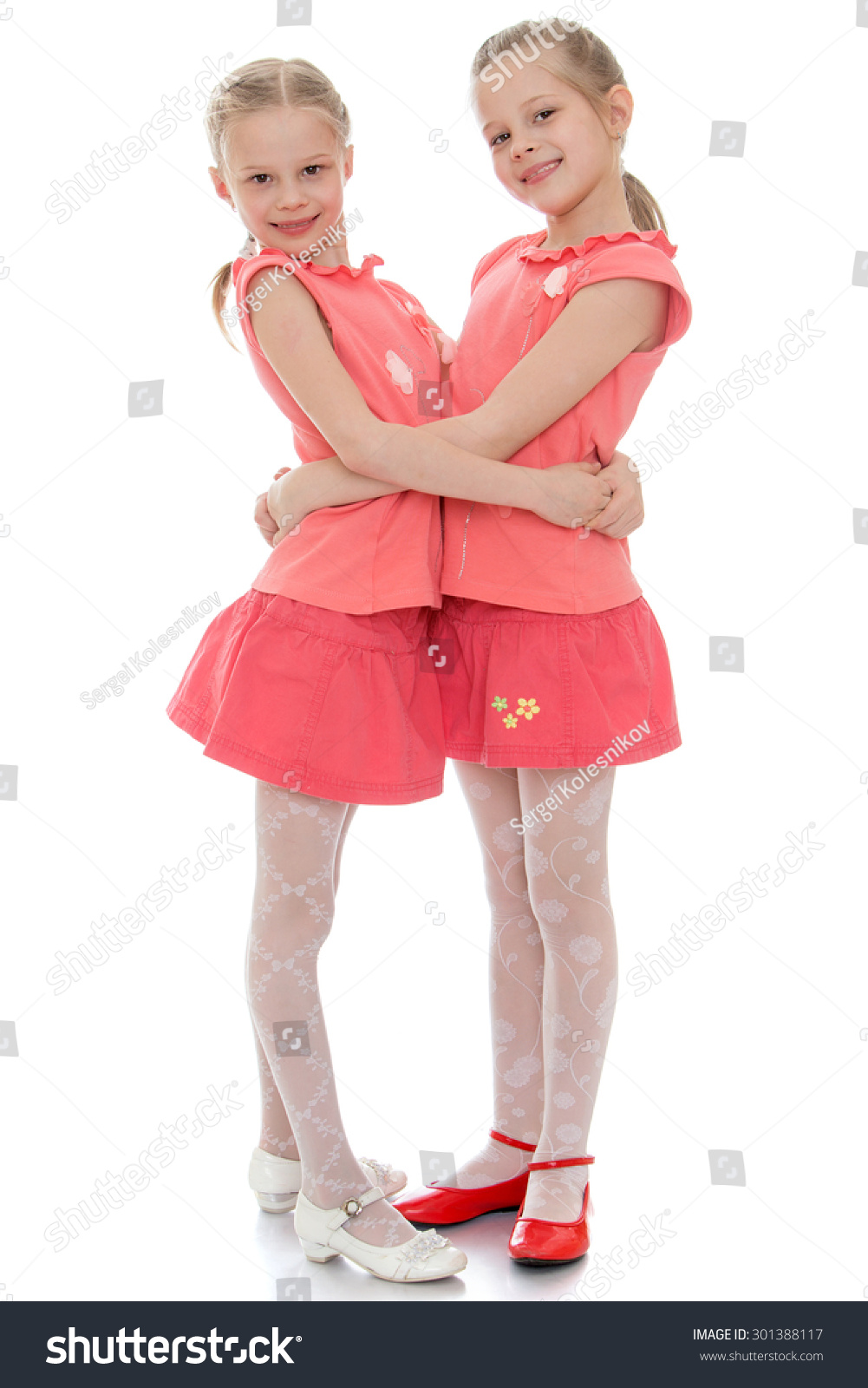 Two Charming Little Girls Sisters Hug Stock Photo 301388117 ...
