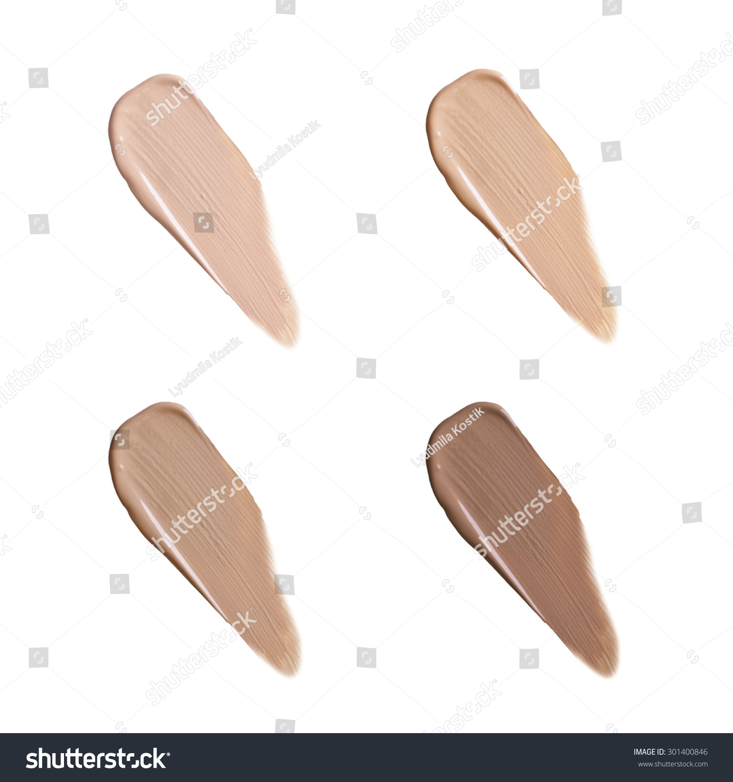 Isolated liquid foundation samples set