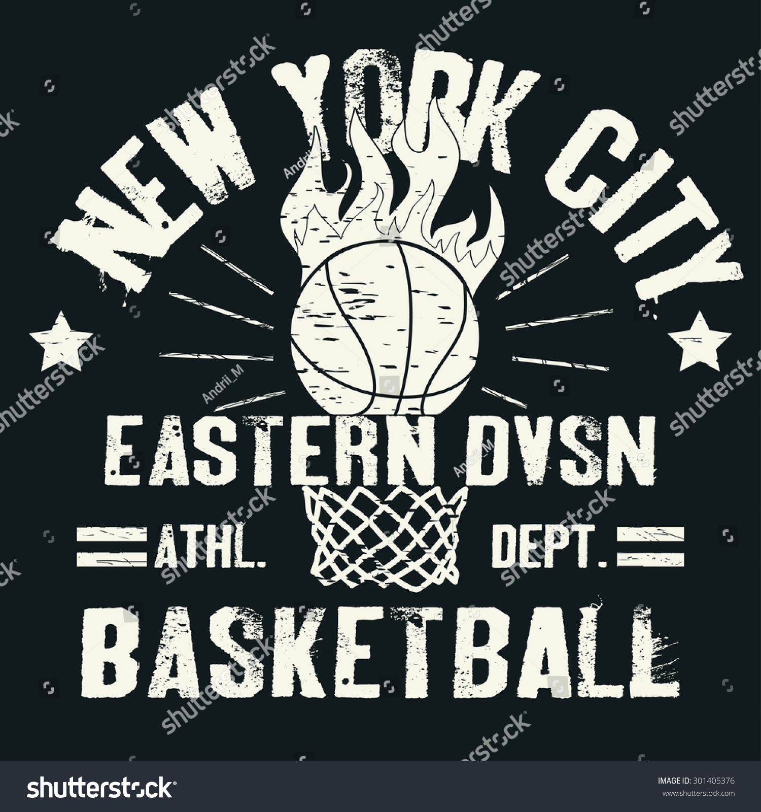 Basketball Tshirt Graphic Design Sport Team Stock Vector 301405376 ...