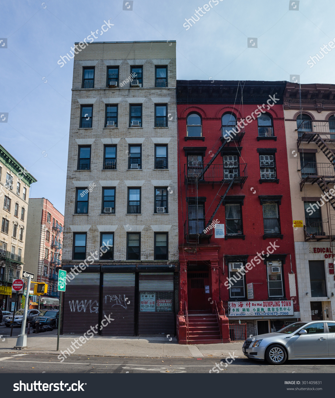 New York City Apartment Buildings: Red Apartment Building Chinatown Where Main Stock Photo